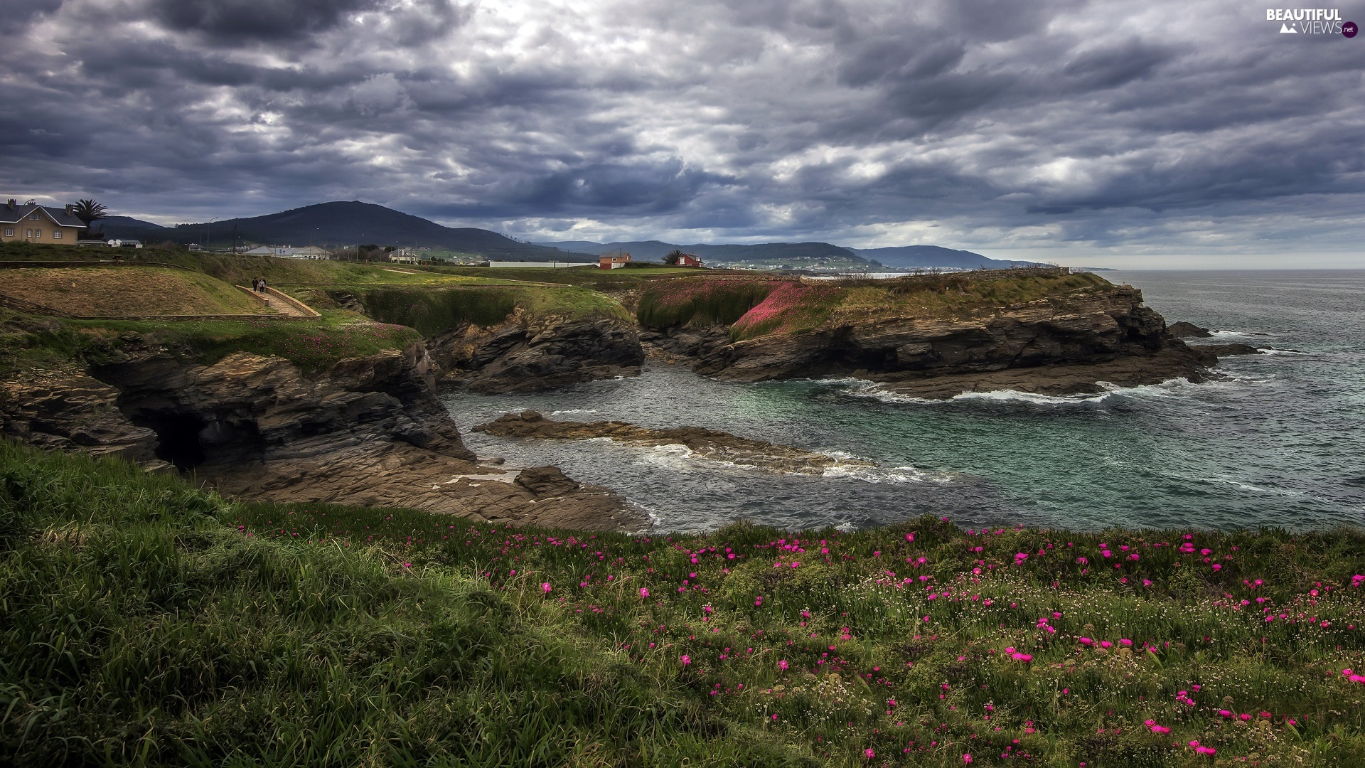 rocks, Houses, dark, Flowers, Coast, sea, clouds