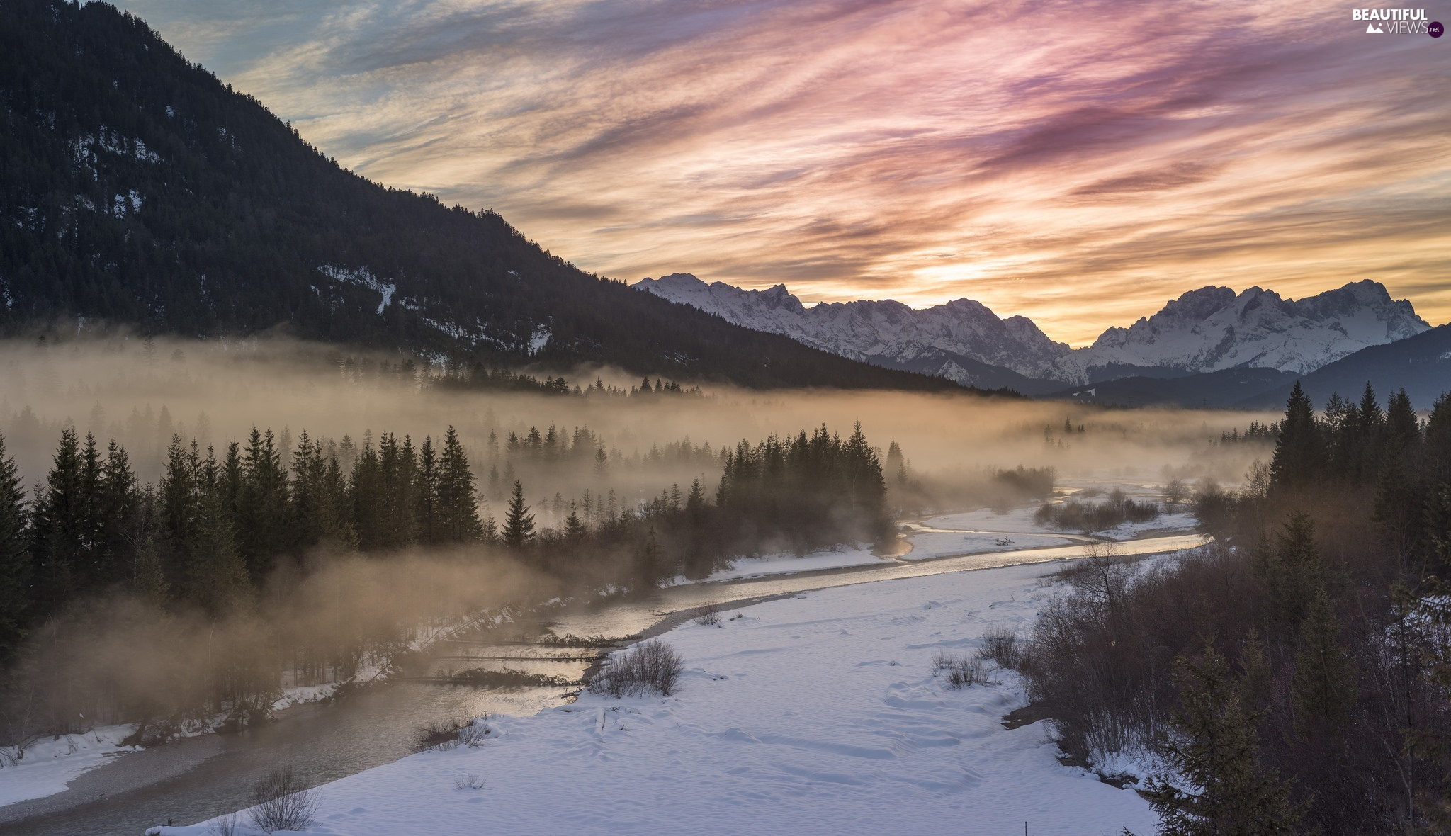 Mountains, winter, viewes, Fog, trees, River