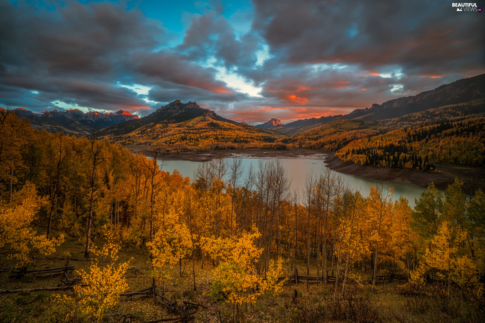 trees, lake, autumn, forest, Mountains, viewes, clouds