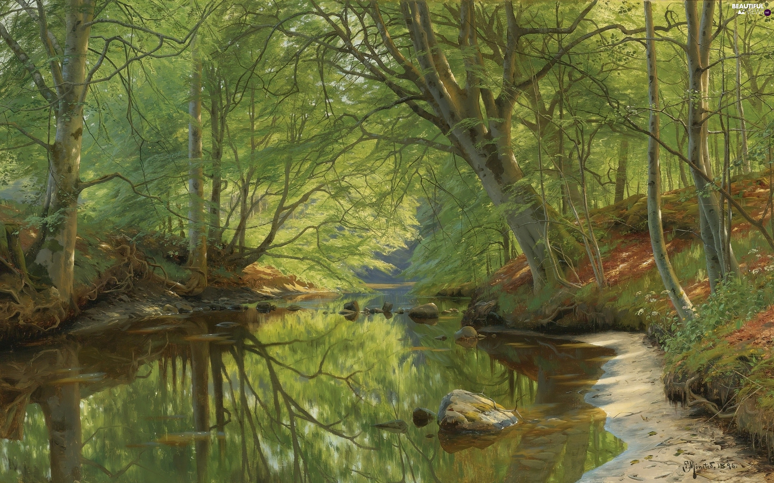 trees, Peder Monsted, forest, River, viewes, painting