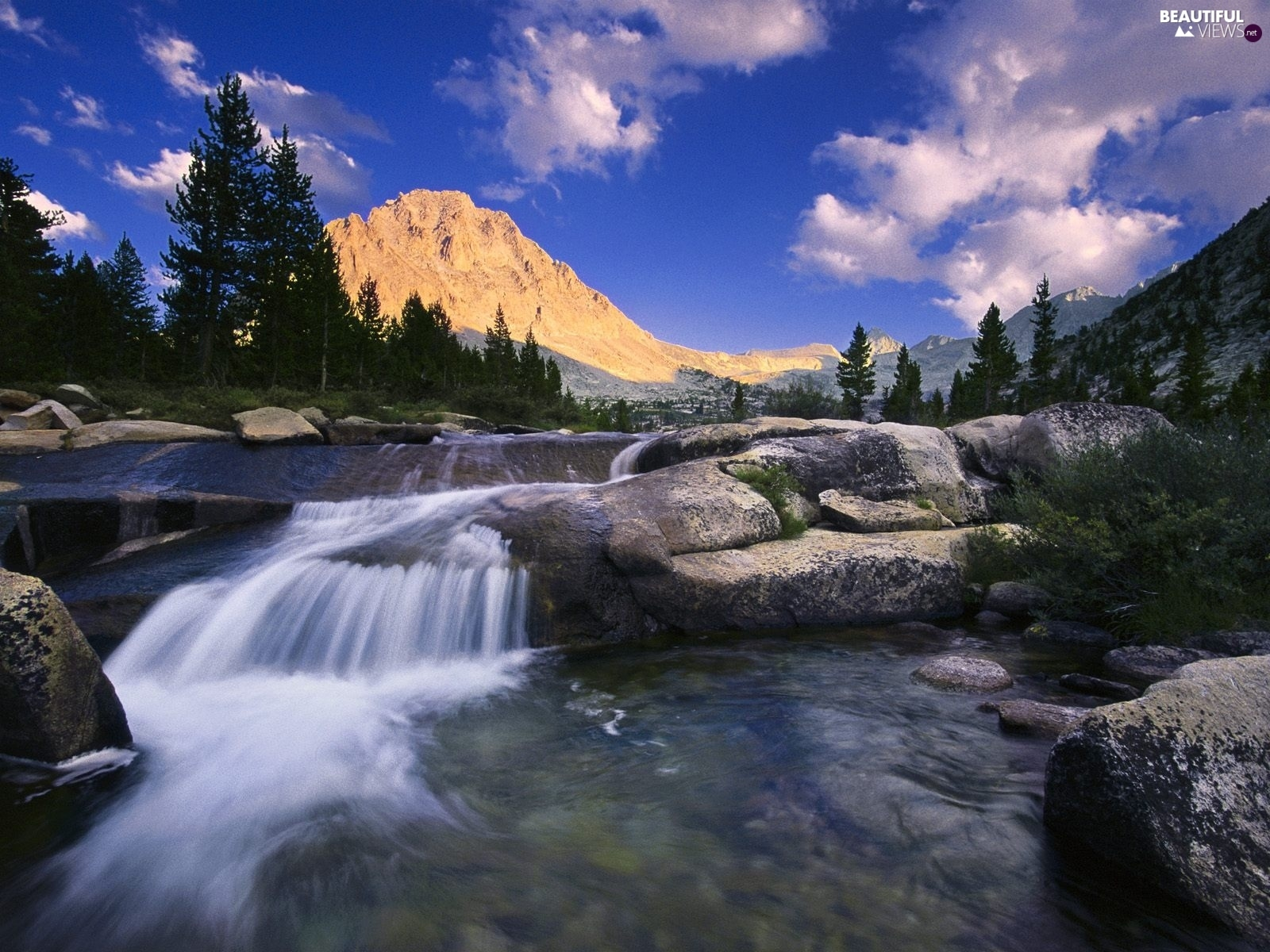 River, Mountains, forest, rocks