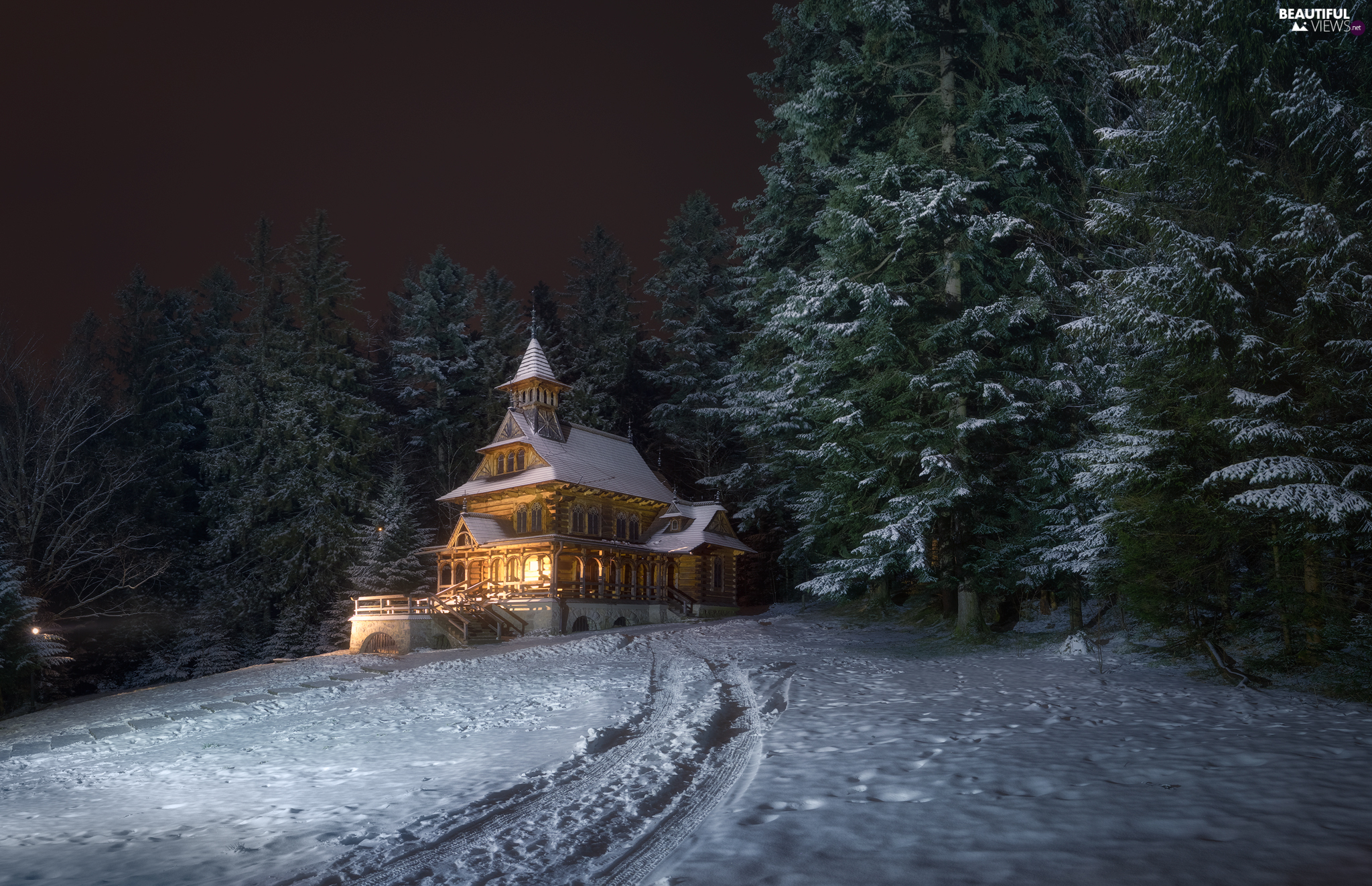Zakopane, Jaszczurowka, Poland, winter, Way, light, church, forest, Chapel of the Sacred Heart of Jesus