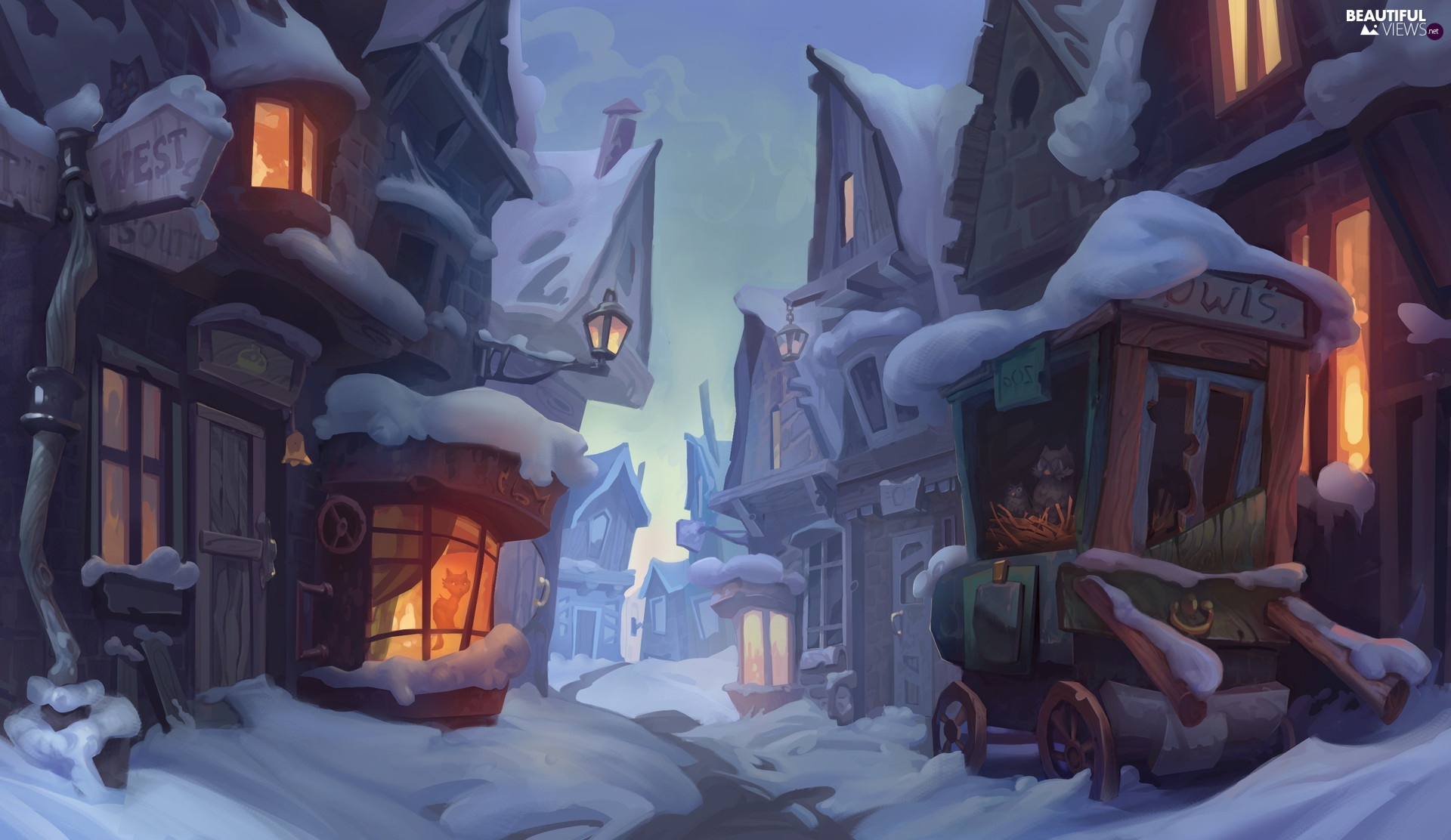 graphics, winter, Houses