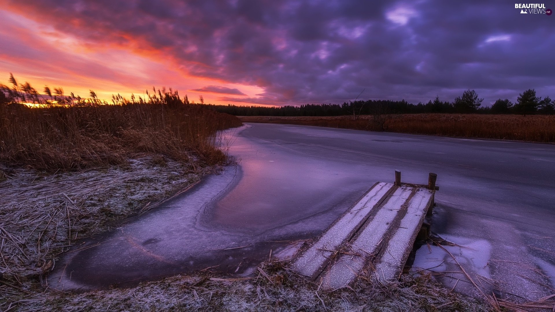 frosted, River, grass, Great Sunsets, Platform, winter