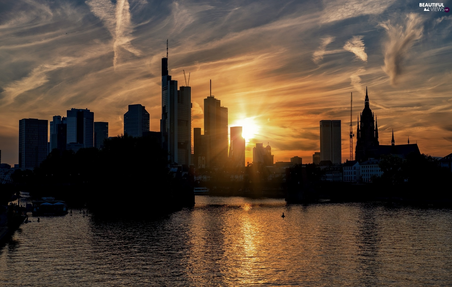 Great Sunsets, Houses, Frankfurt am Main, Germany, River Men, skyscrapers