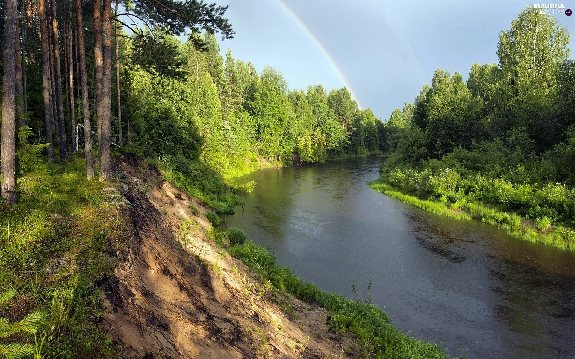 River, scarp, Great Rainbows, forest