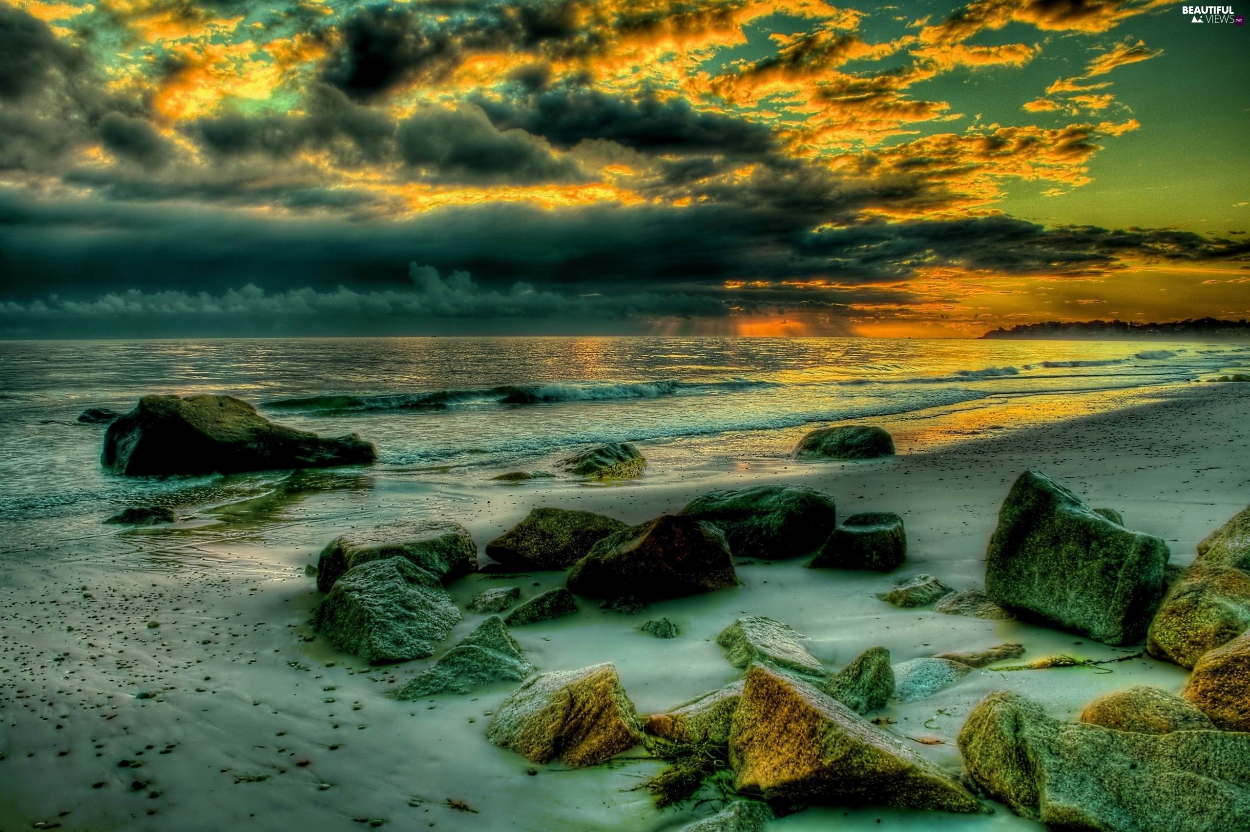 sea, clouds, Great Sunsets, Stones
