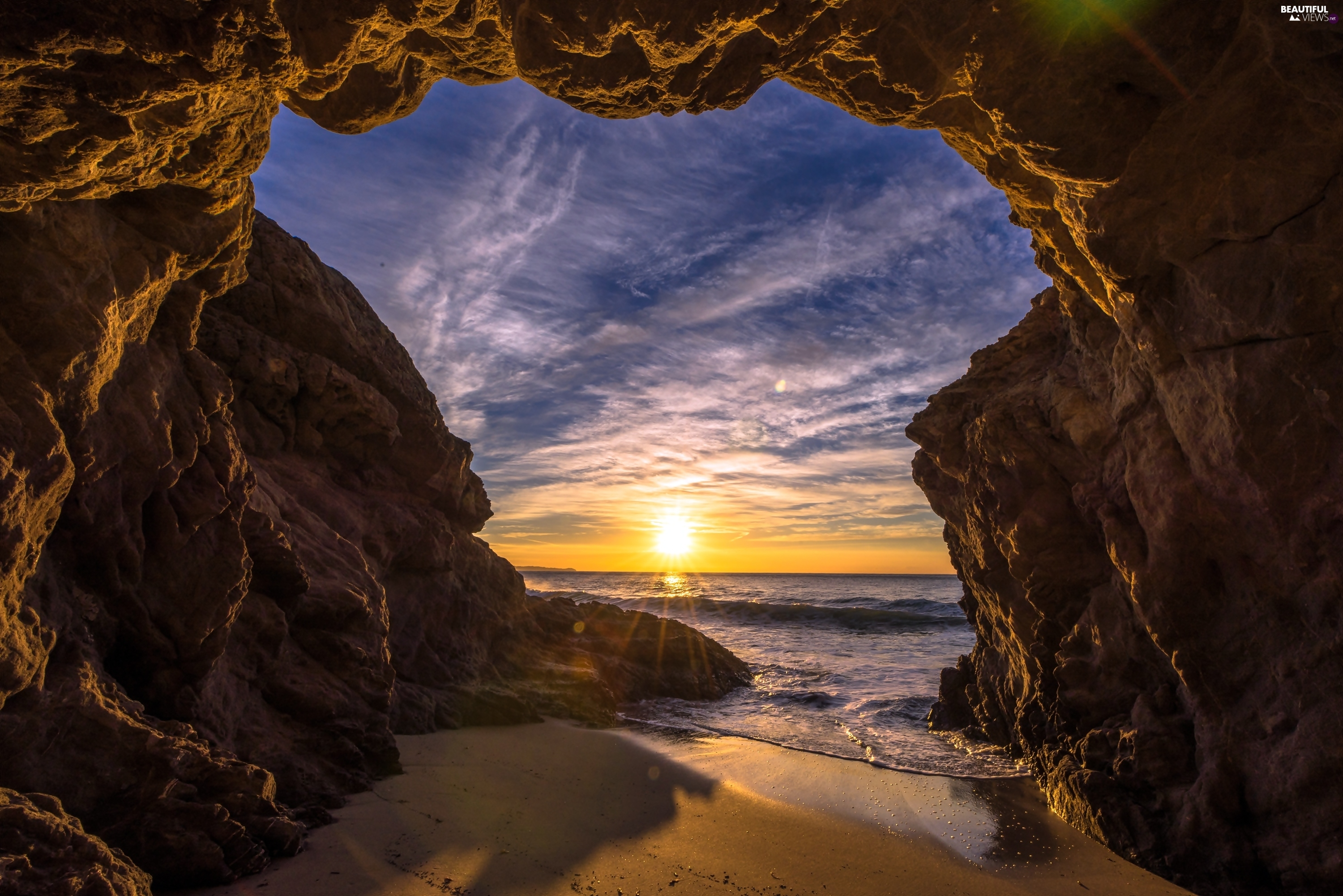sea, rocks, Great Sunsets, cave