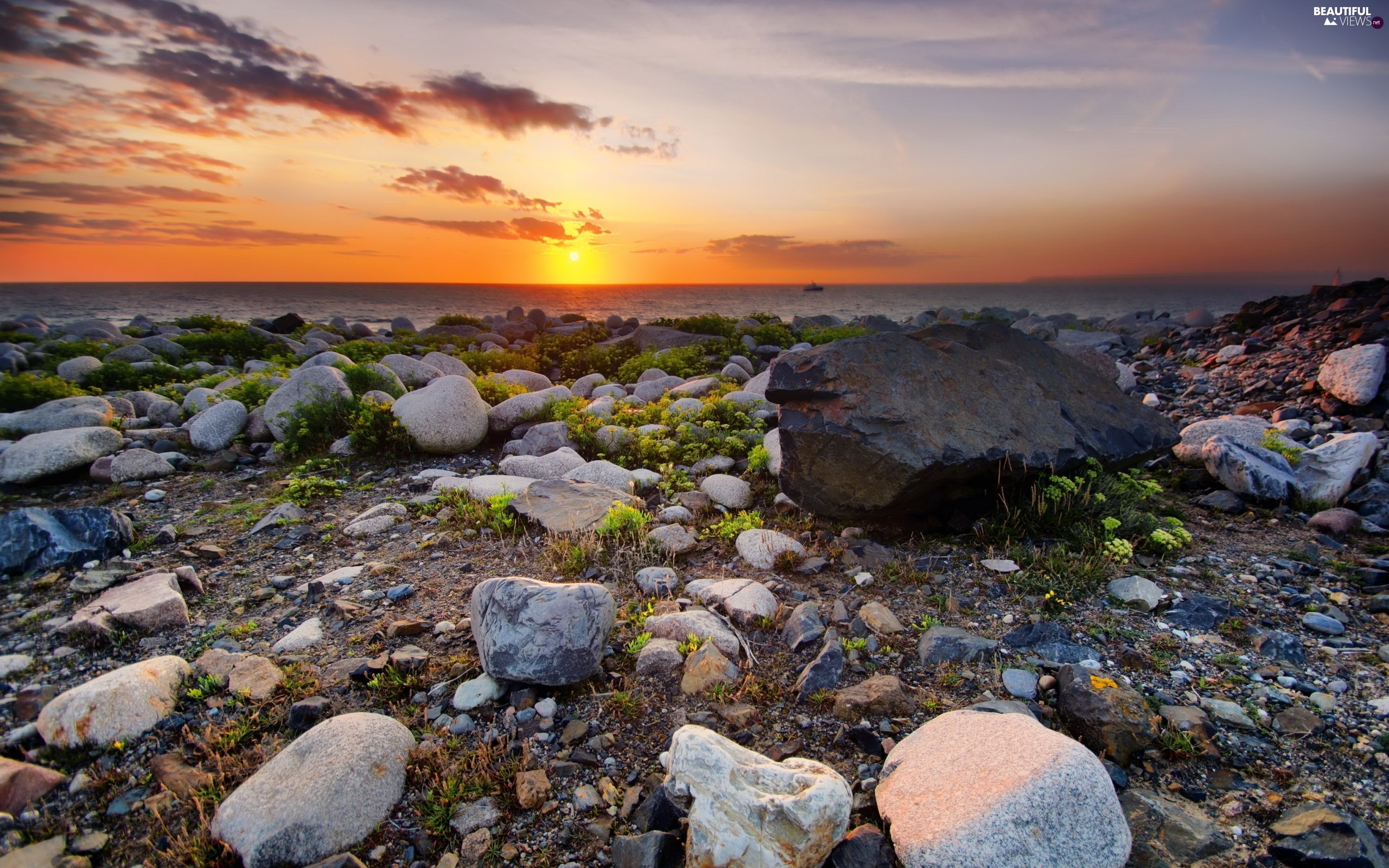 Stones, Coast, Great Sunsets