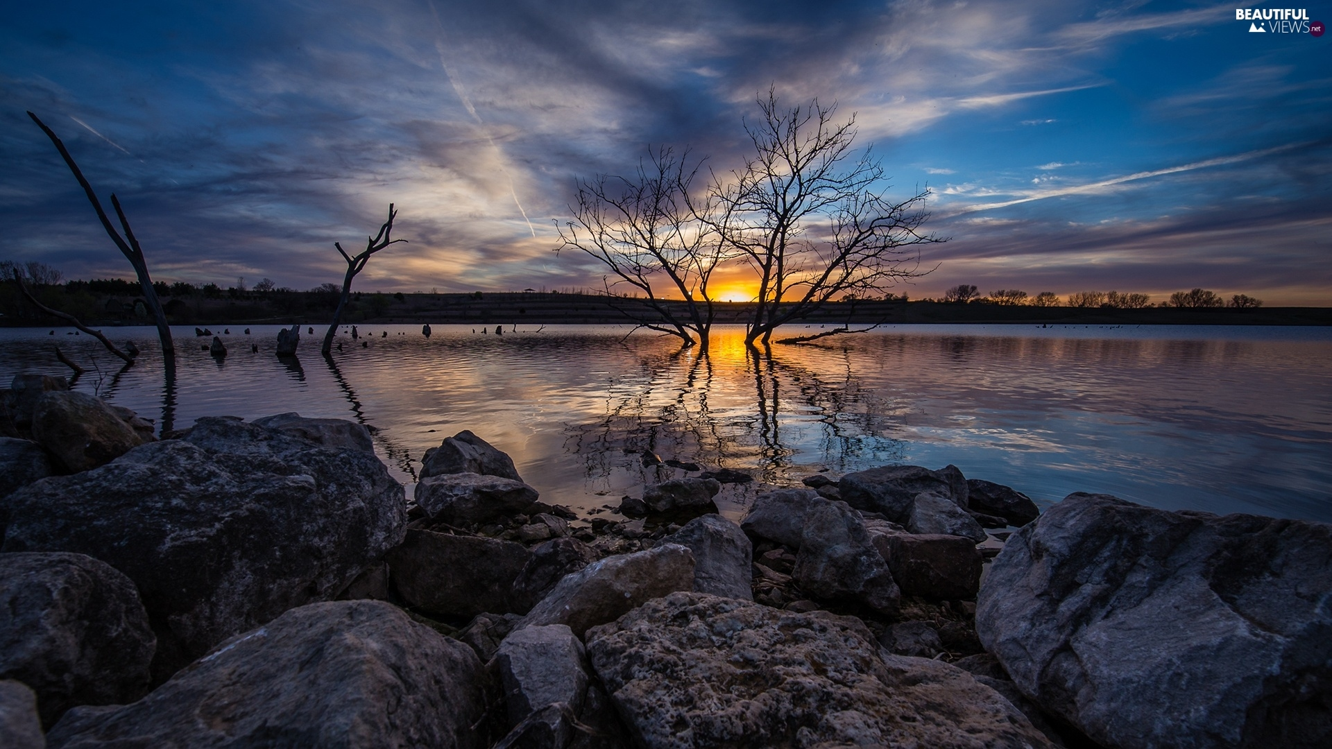 Great Sunsets, lake, trees, viewes, Sky, Stones