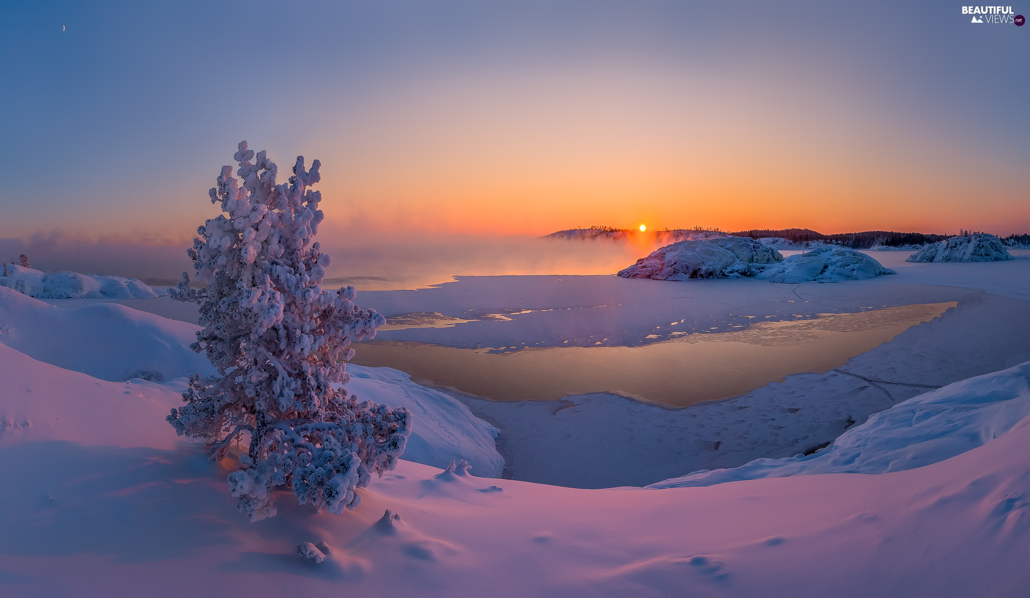 Fog, winter, trees, Great Sunsets, Snowy, lake
