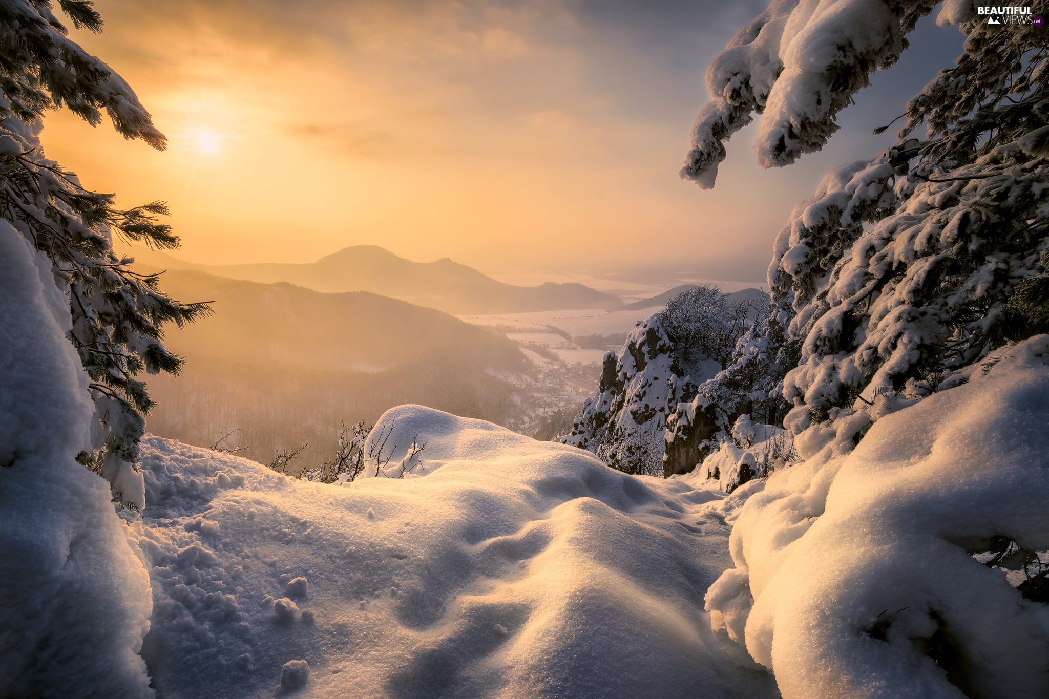 snow, winter, viewes, Great Sunsets, trees, Mountains