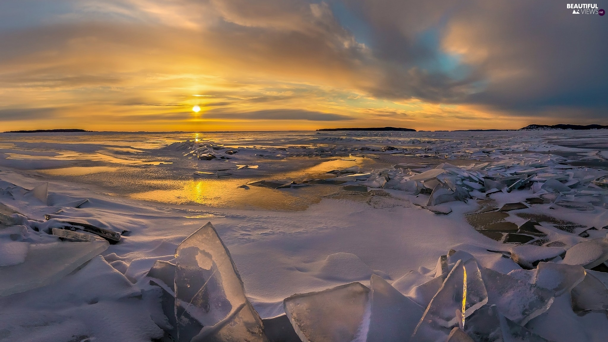 sea, Great Sunsets, winter, Chunks of Ice