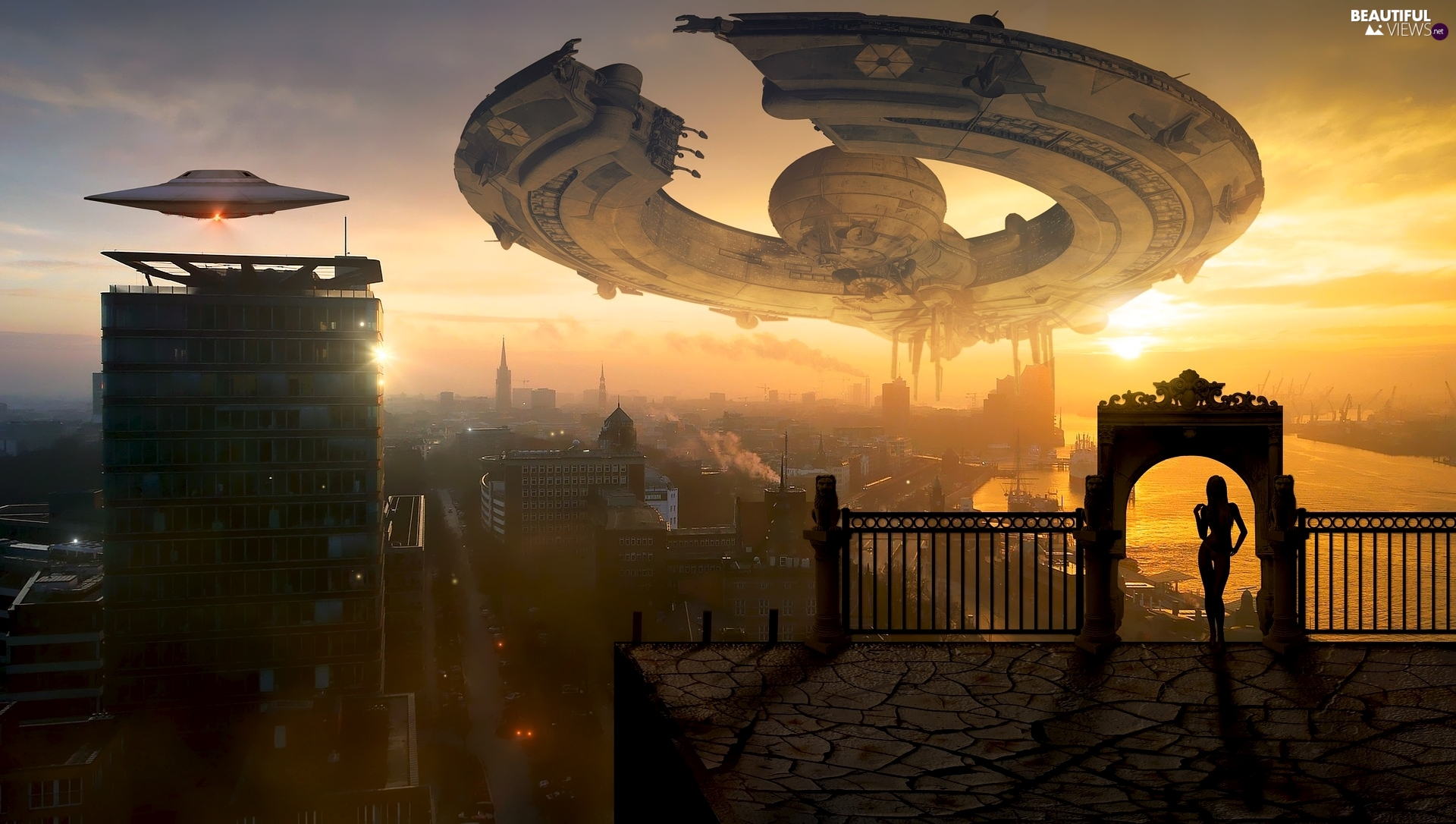spaceships, fantasy, Women, Great Sunsets, Gate, Town