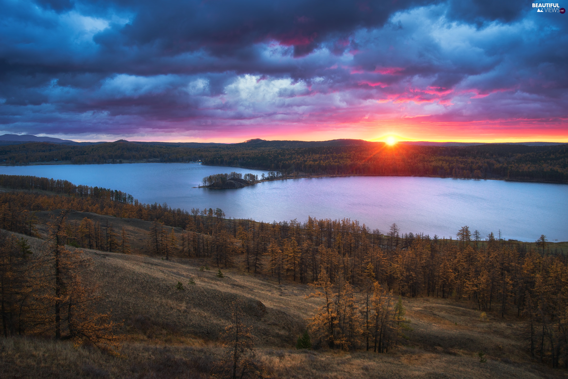 trees, lake, clouds, Great Sunsets, viewes, The Hills