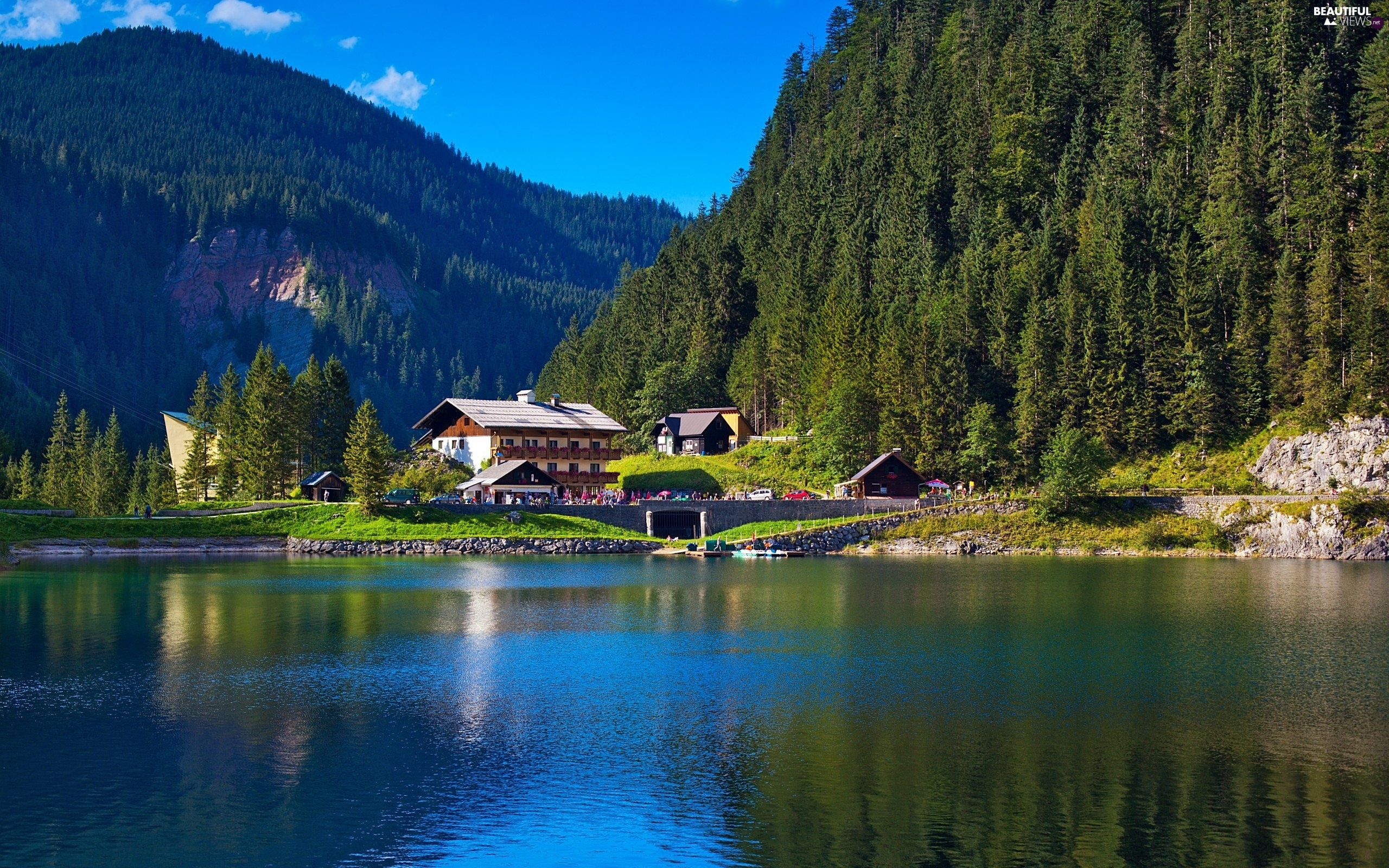woods, Alps, Houses, landscape, lake, Mountains