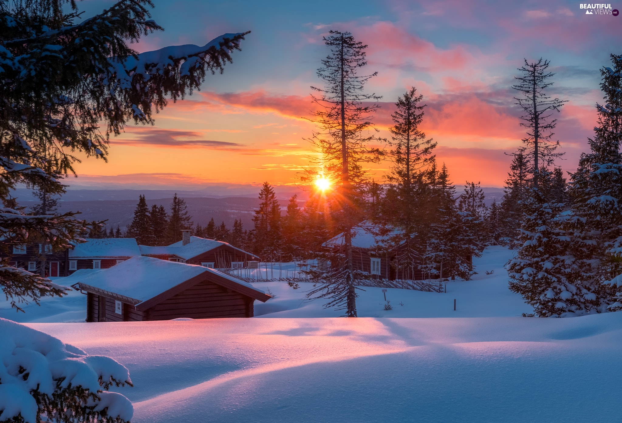 viewes, Great Sunsets, Houses, trees, winter