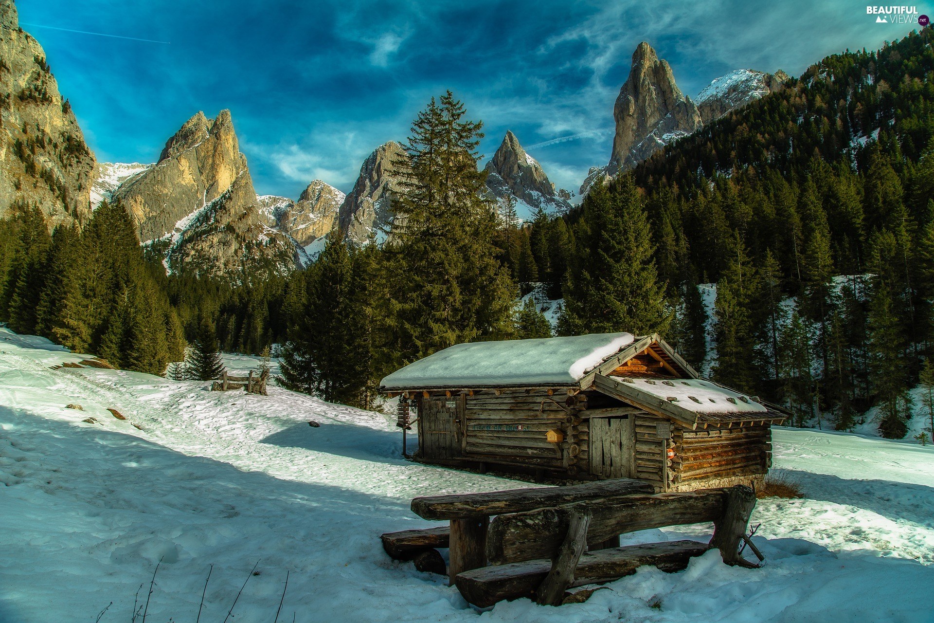 Alps, Mountains, cottage, Italy, winter, Dolomites