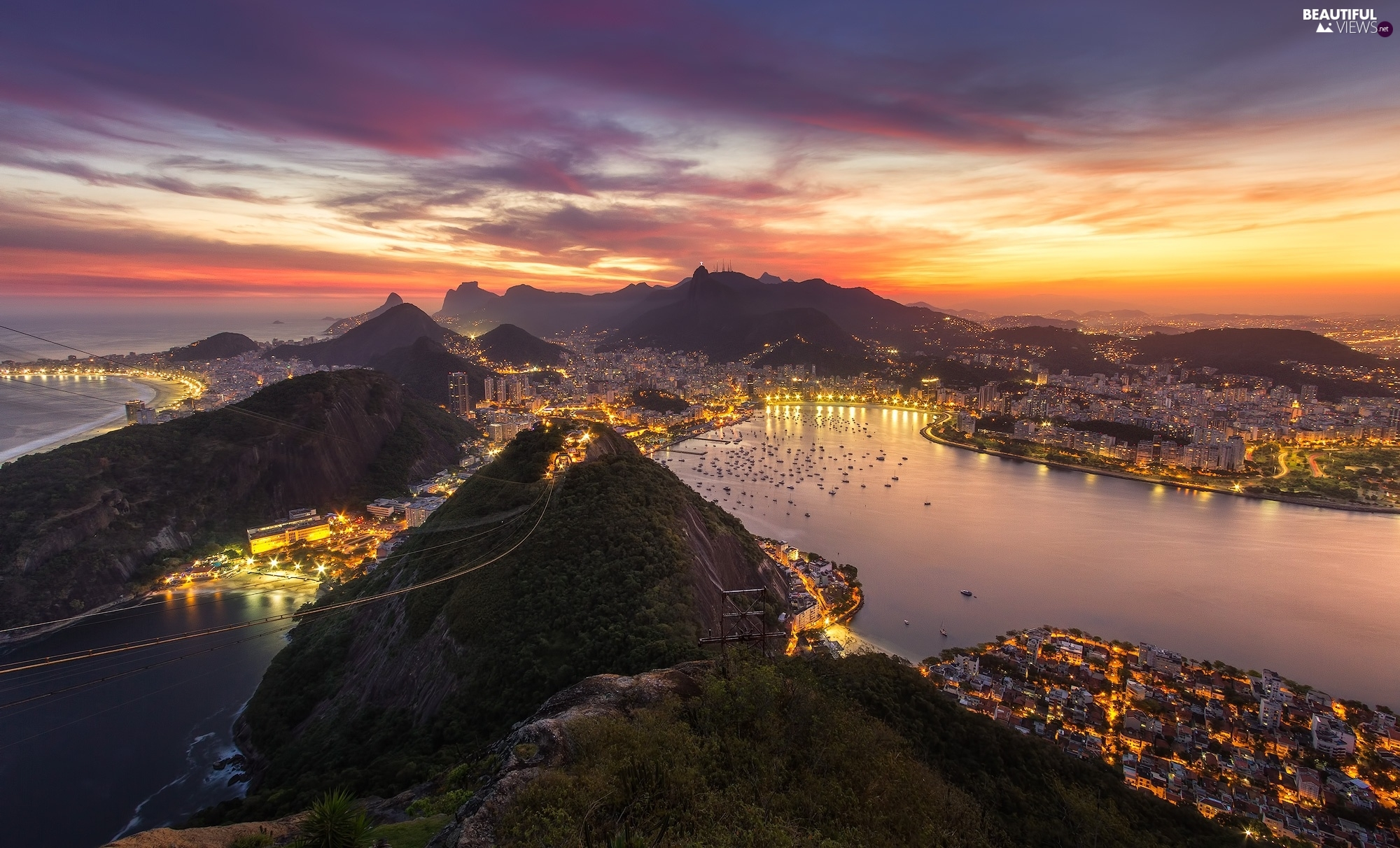 Houses, Rio de Janeiro, Gulf, Great Sunsets, vessels, Brazil, sea, clouds, light, Mountains