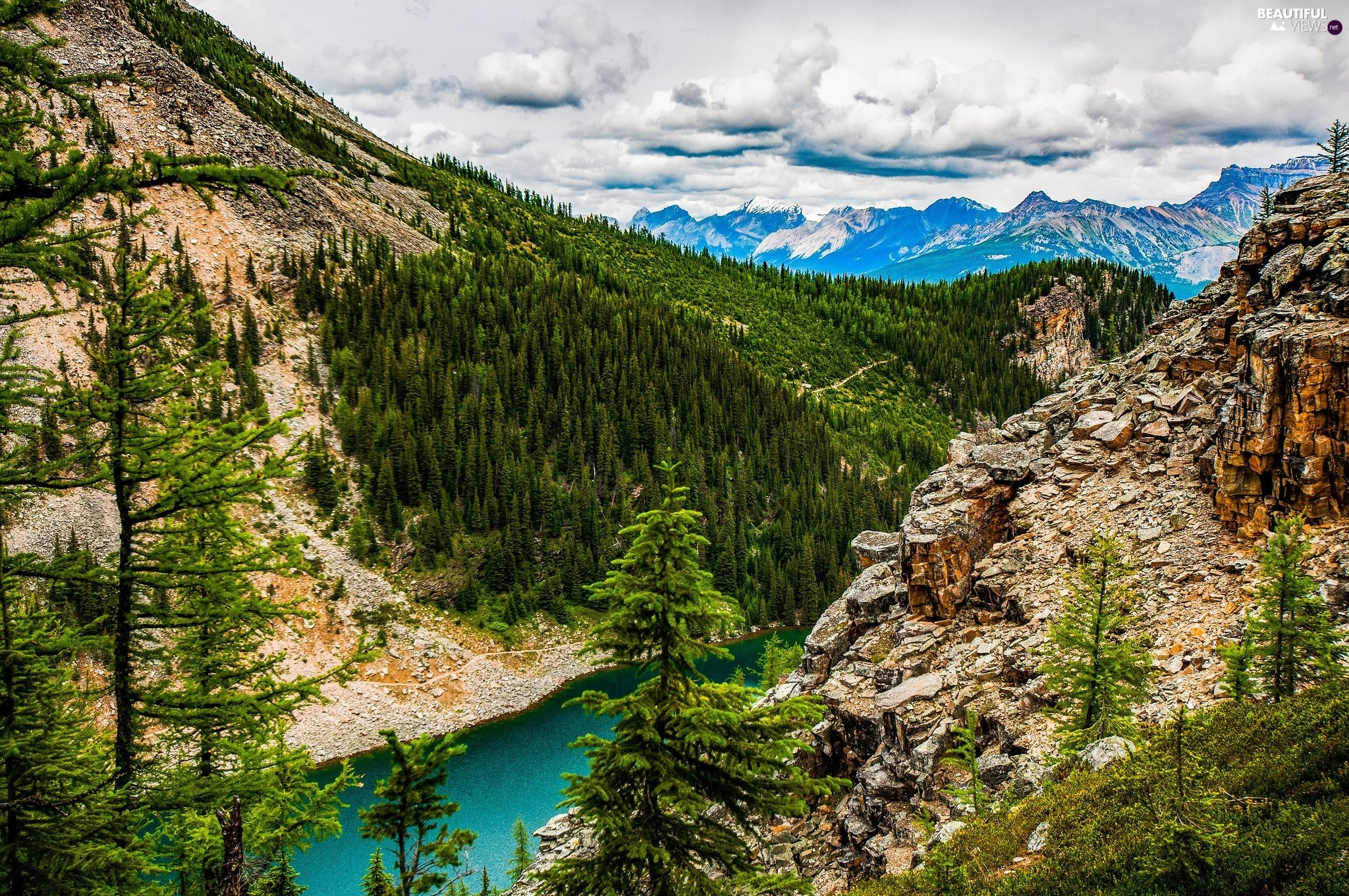 canyon, forest, Clouds, lake
