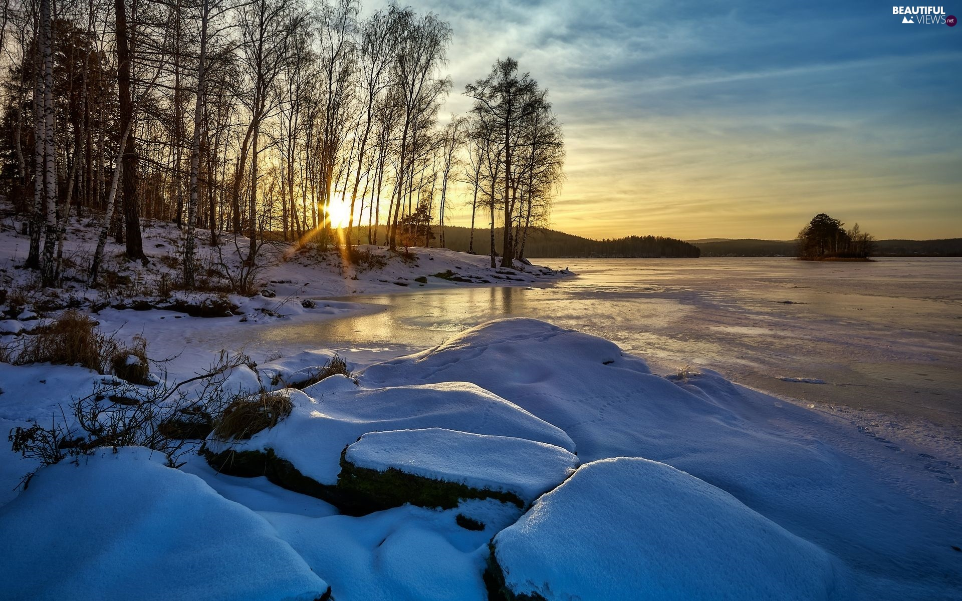 Snowy, winter, Stones, rays of the Sun, viewes, birch, lake, trees, frozen