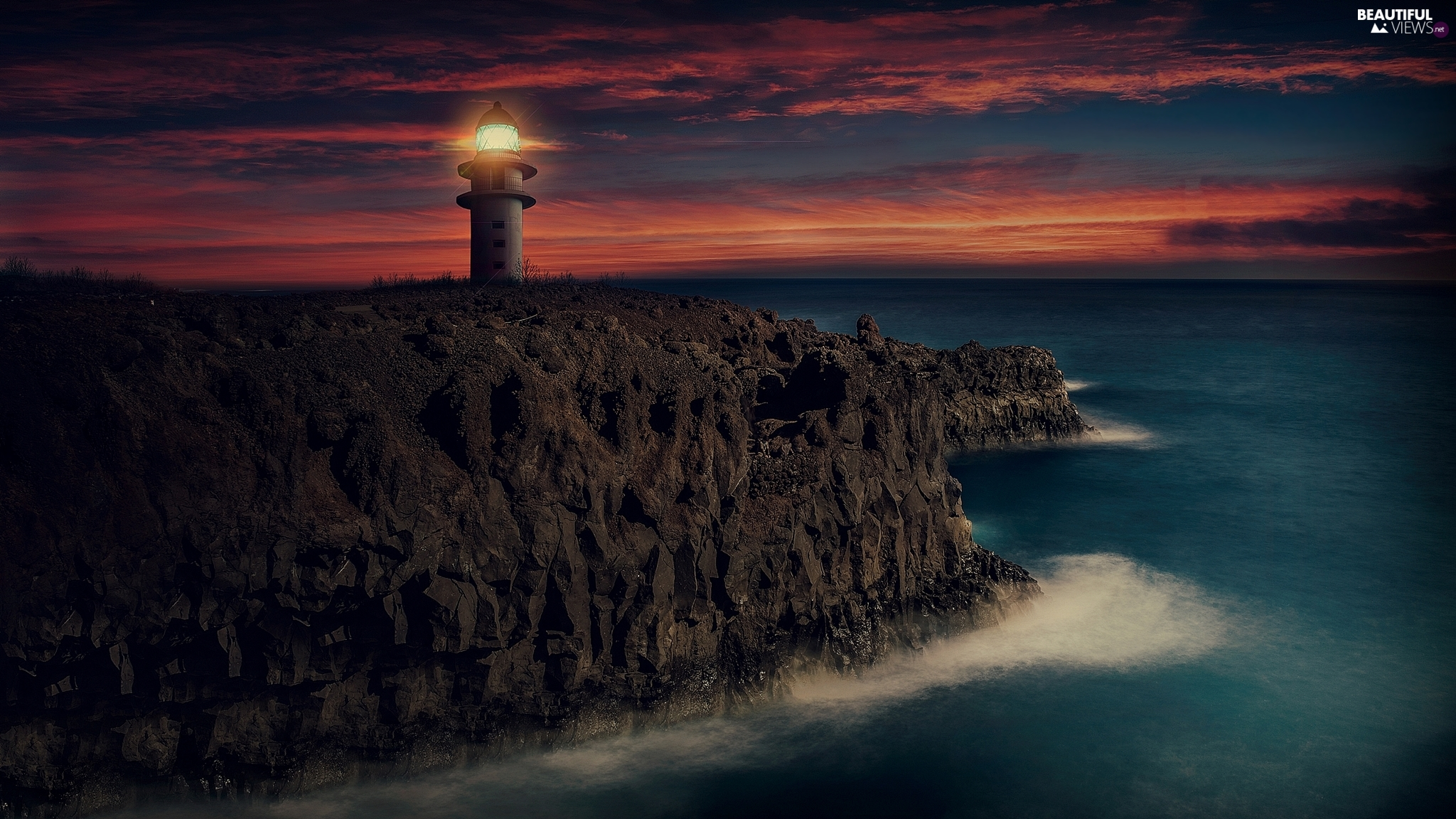 Lighthouses, sea, cliff