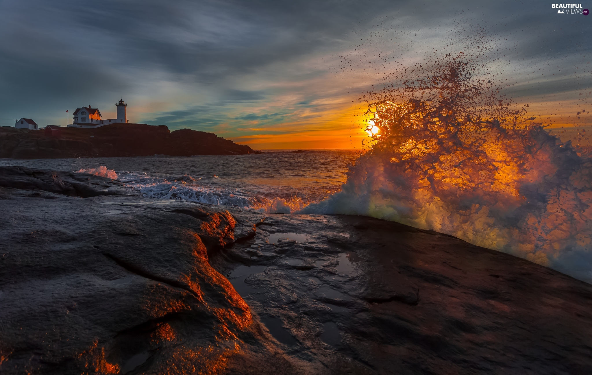 Lighthouses, Great Sunsets, Coast, Waves, Rocky