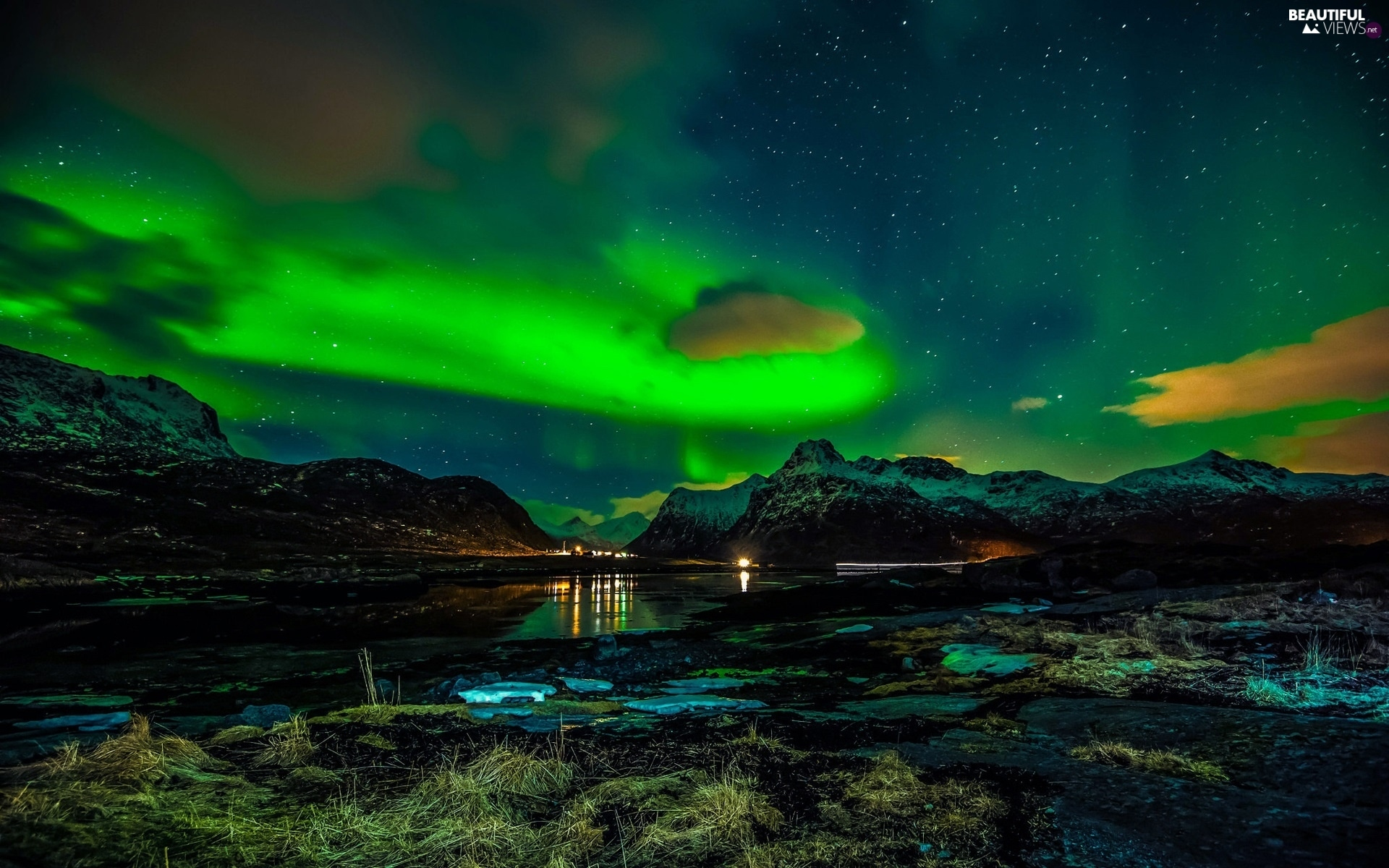 Lofoten, Norway, sea, aurora polaris, Mountains