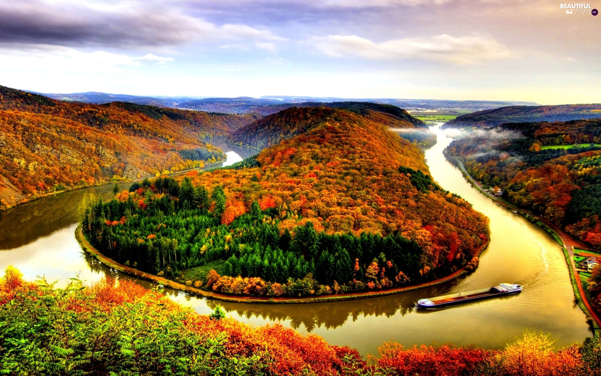 meander, autumn, viewes, River, trees