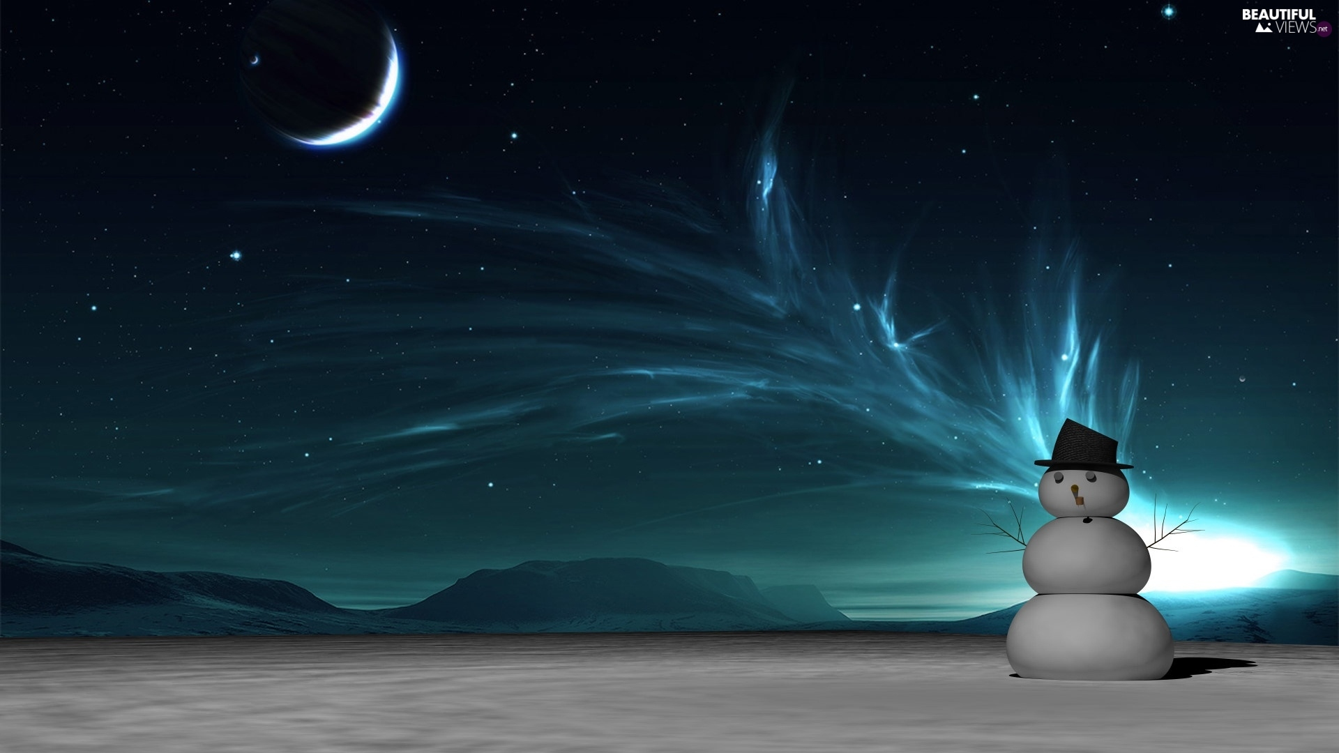 Snowman, winter, moon, aurora polaris