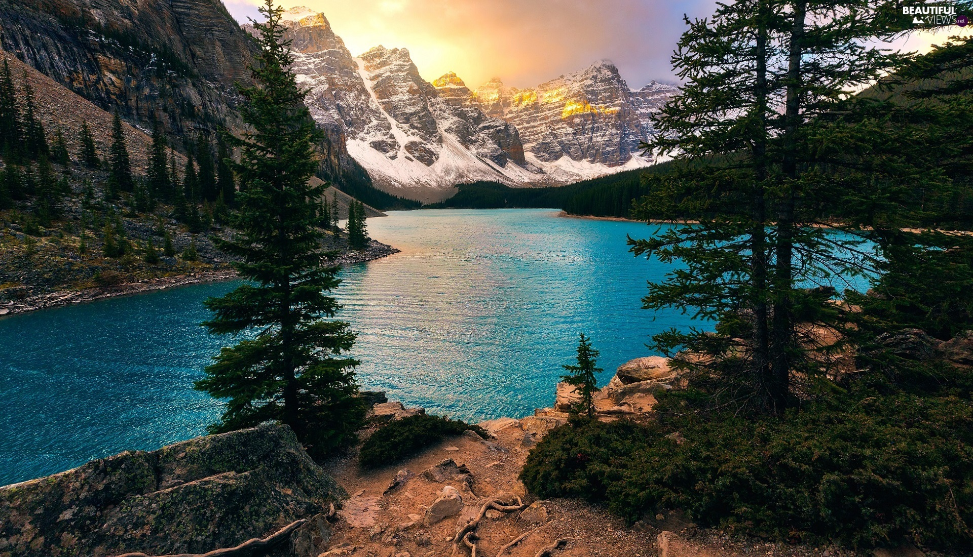 forest, Alberta, Lake Moraine, viewes, Valley of the Ten Peaks, Canada, Banff National Park, Mountains, trees, Valley of the Ten Peaks