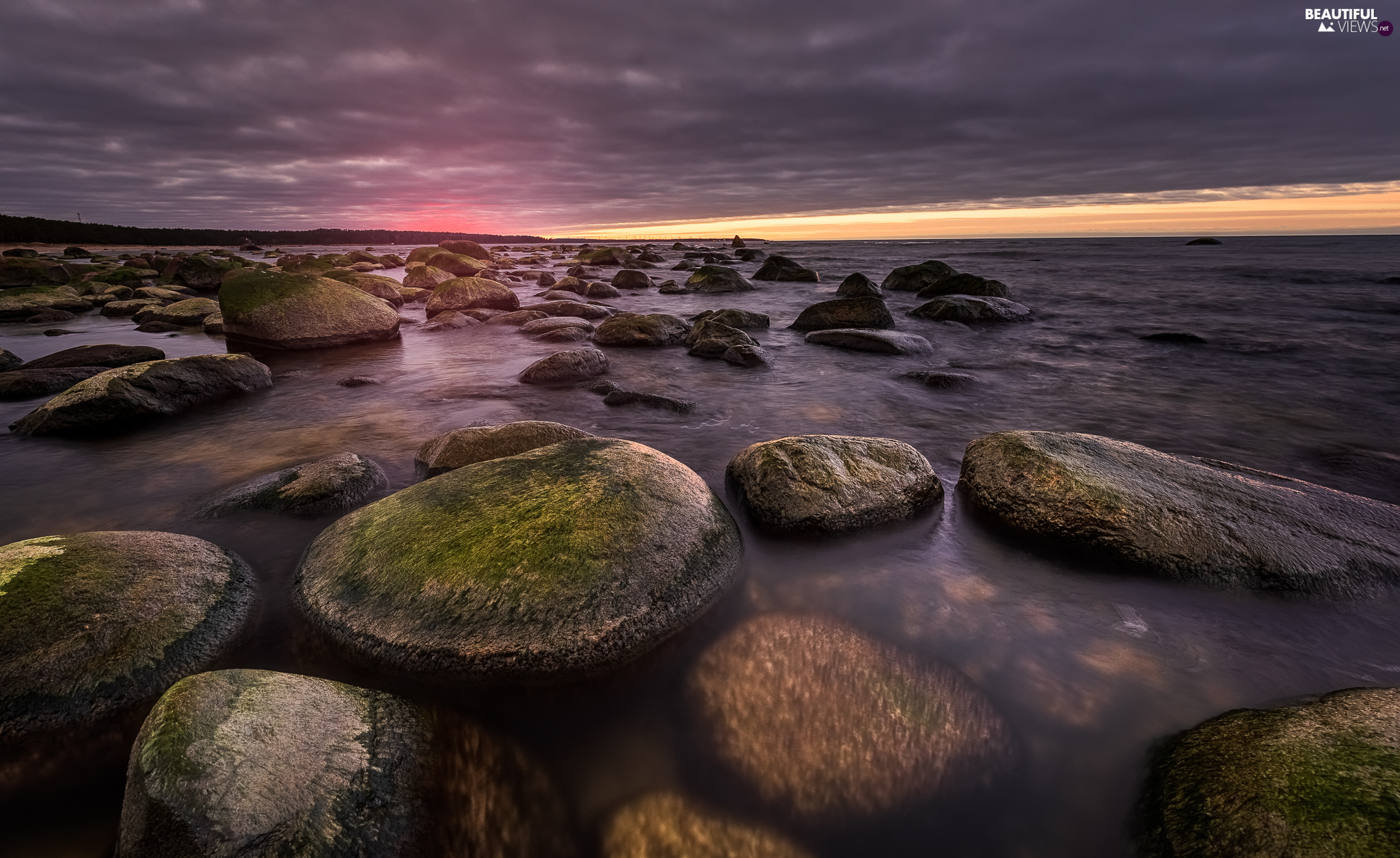 coast, Great Sunsets, mossy, Stones, sea