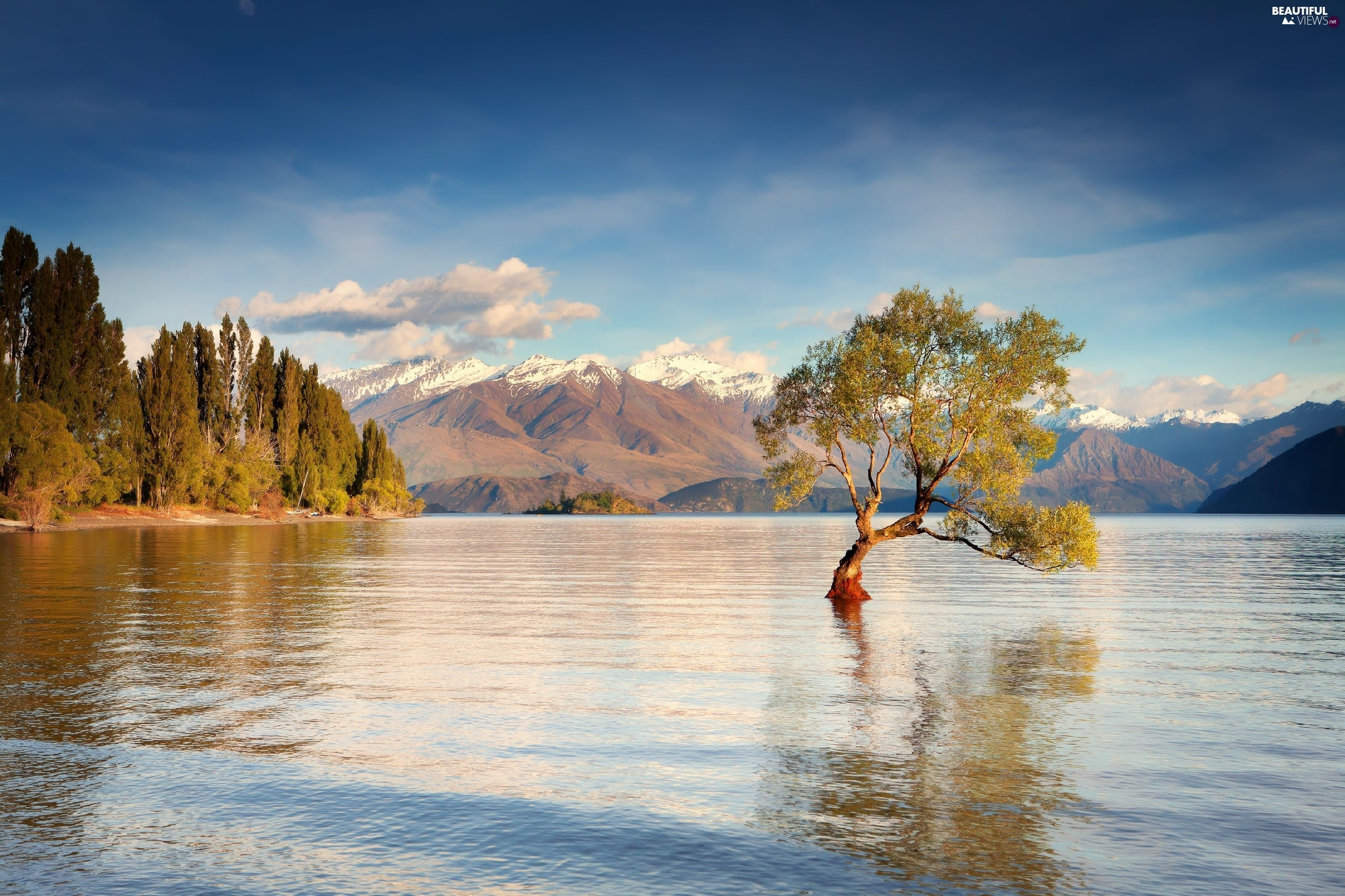 lake, viewes, Mountains, trees