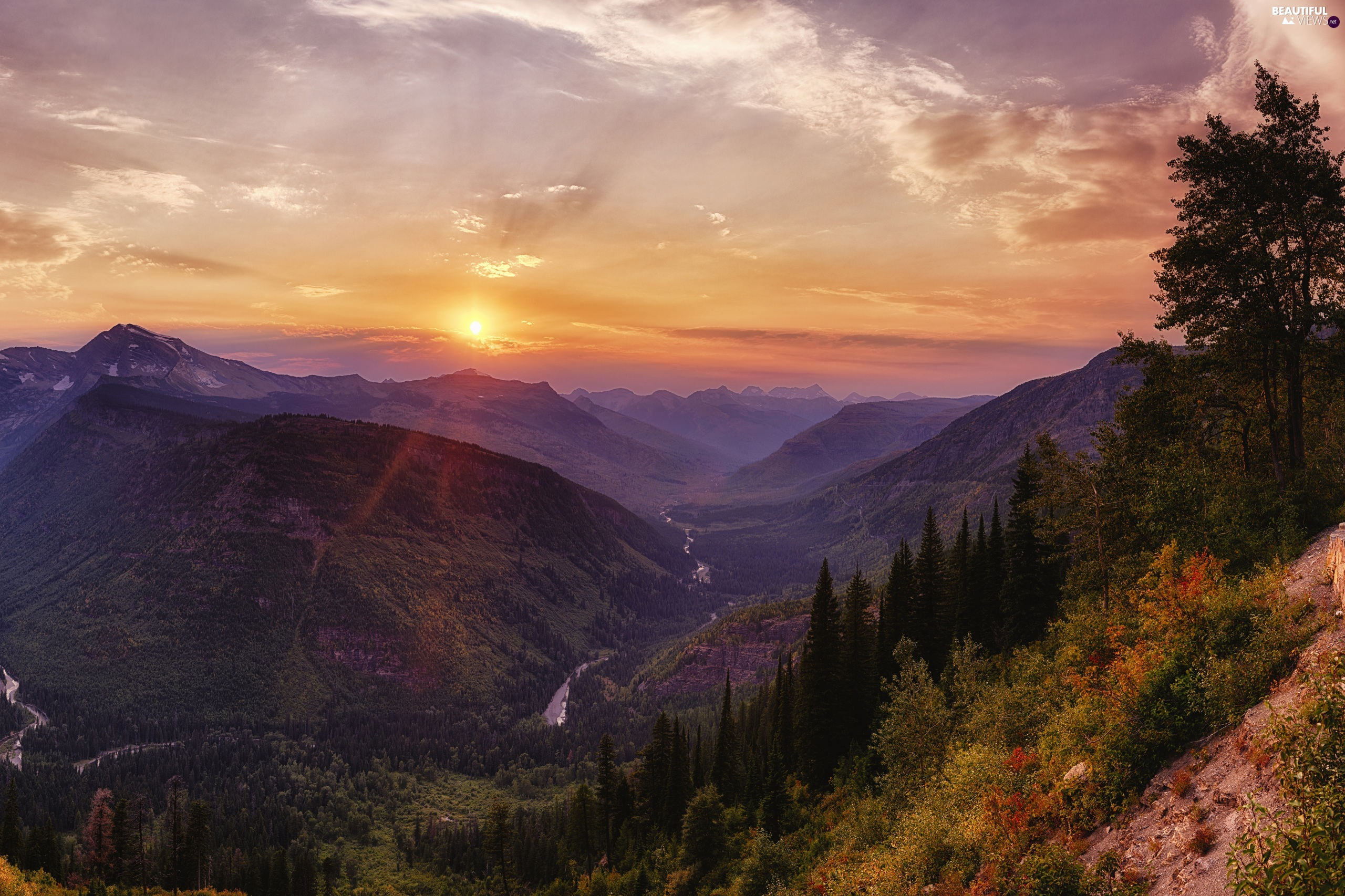 Glacier National Park, The United States, forest, Great Sunsets, Mountains, Montana State