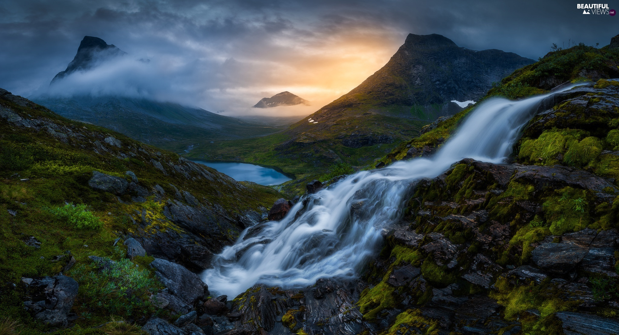 Mountains, waterfall, Sunrise, lake, clouds, Romsdalen Valley, Norway, Fog