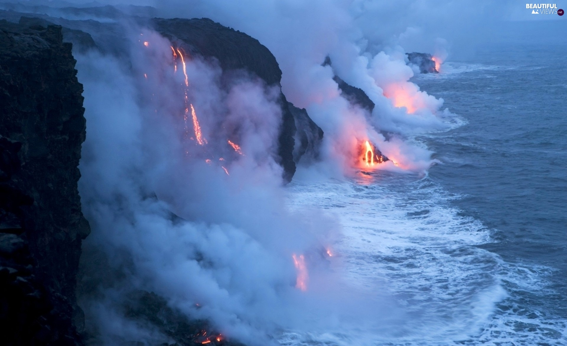 volcano, sea, Mountains, Lava