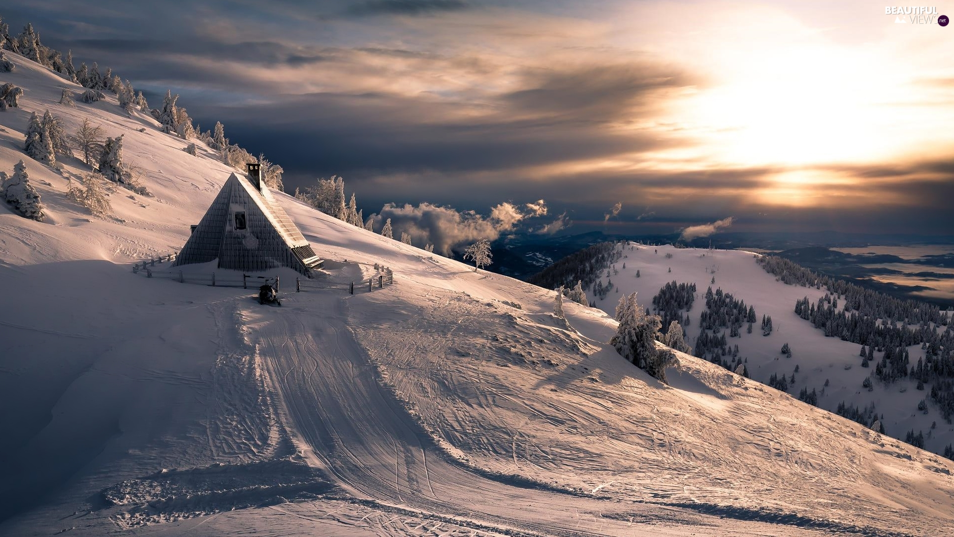 winter, Sunrise, Home, Mountains