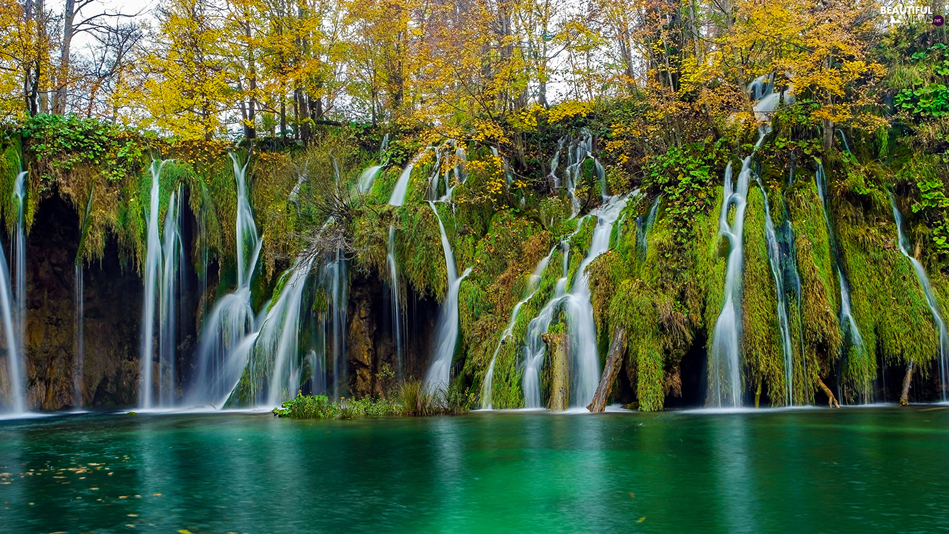 rocks, trees, Coartia, viewes, Plitvice Lakes National Park, mossy, waterfall, autumn