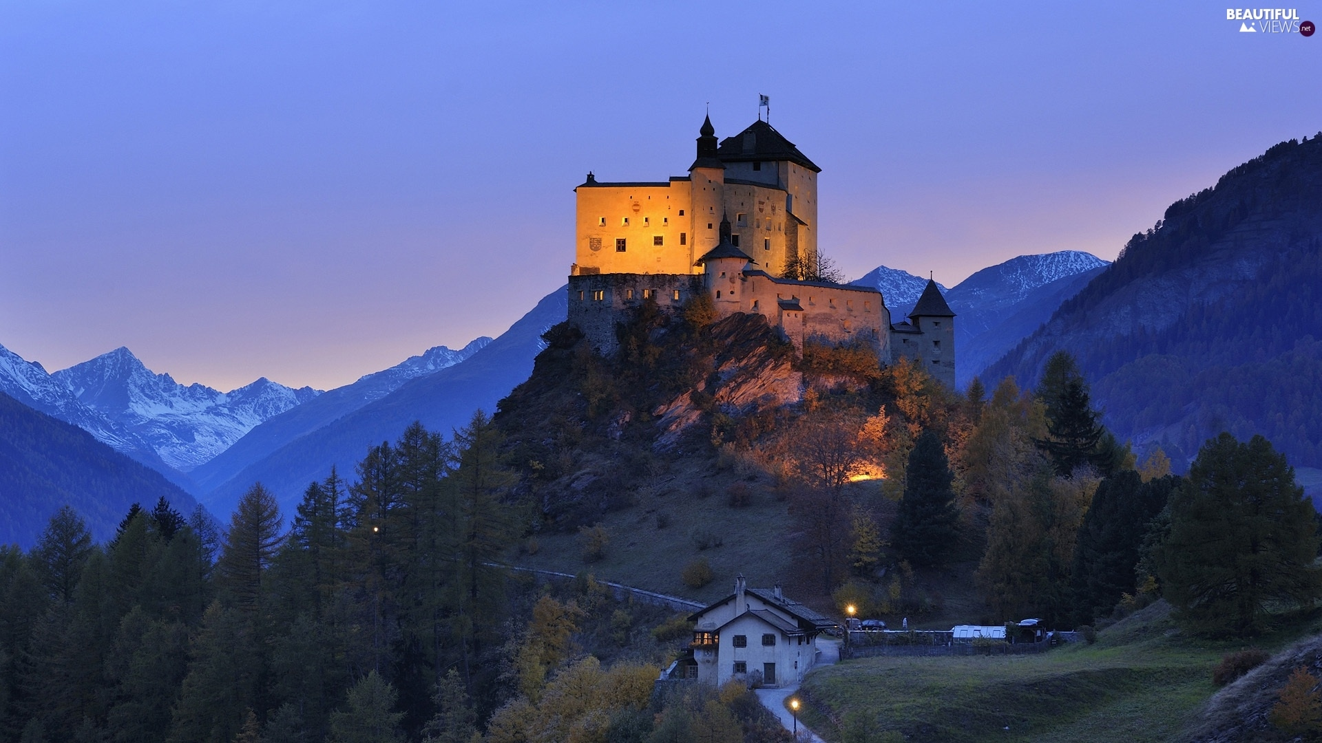 Castle, woods, Night, Mountains