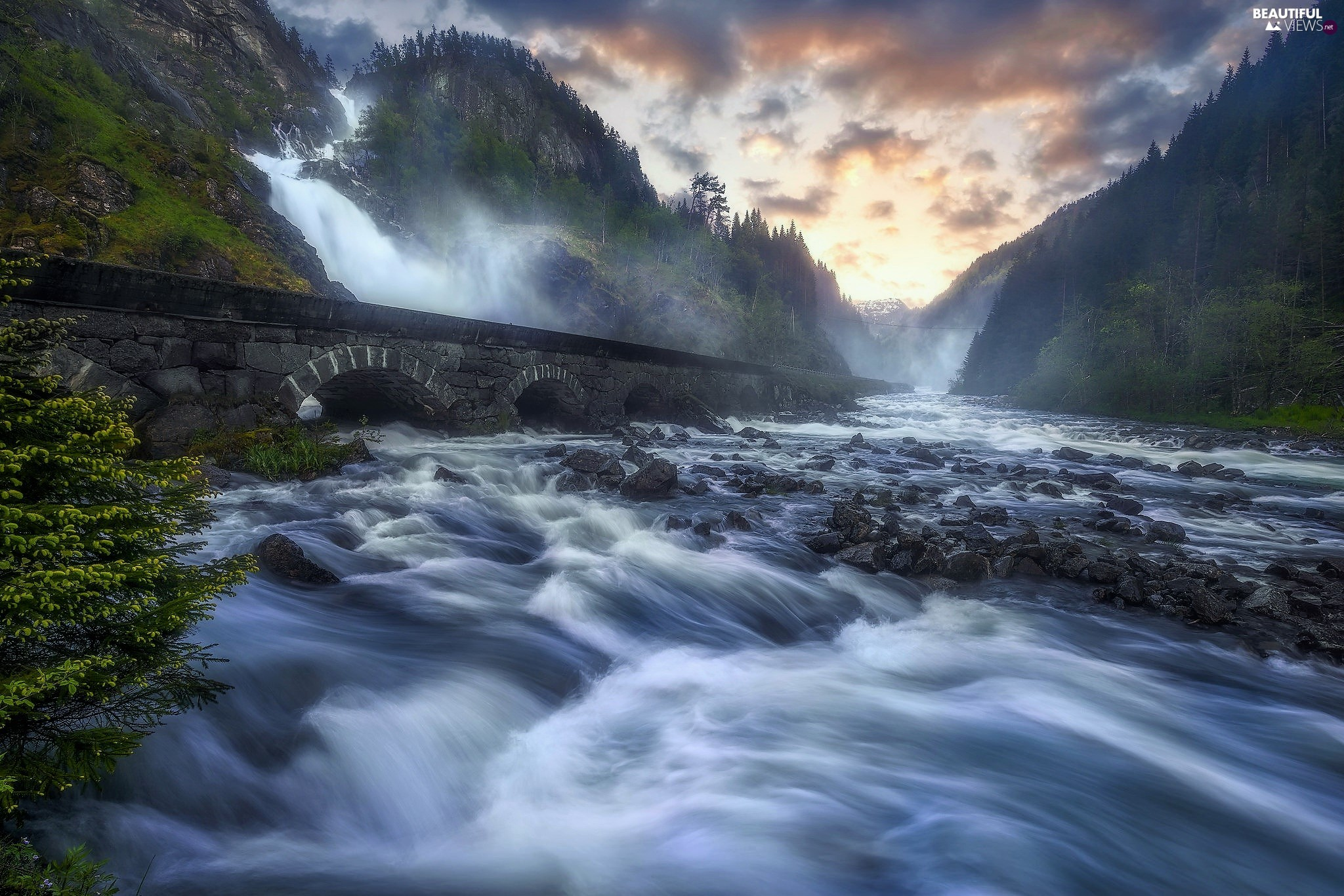 forest, Mountains, River, Odda Commune, rocks, Latefossen Waterfall, bridge, Norway, clouds, Stones