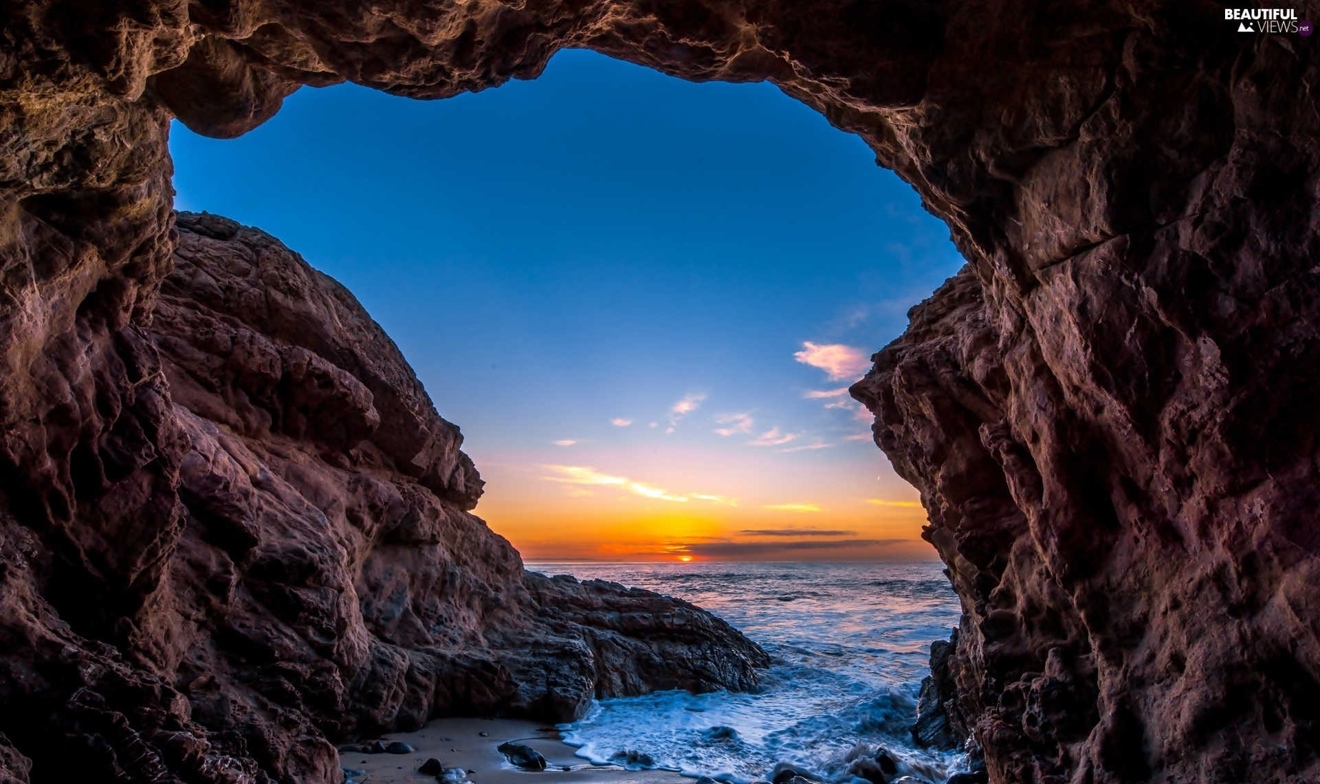 Coast, ocean, USA, west, Malibu, rocks, cave, sun