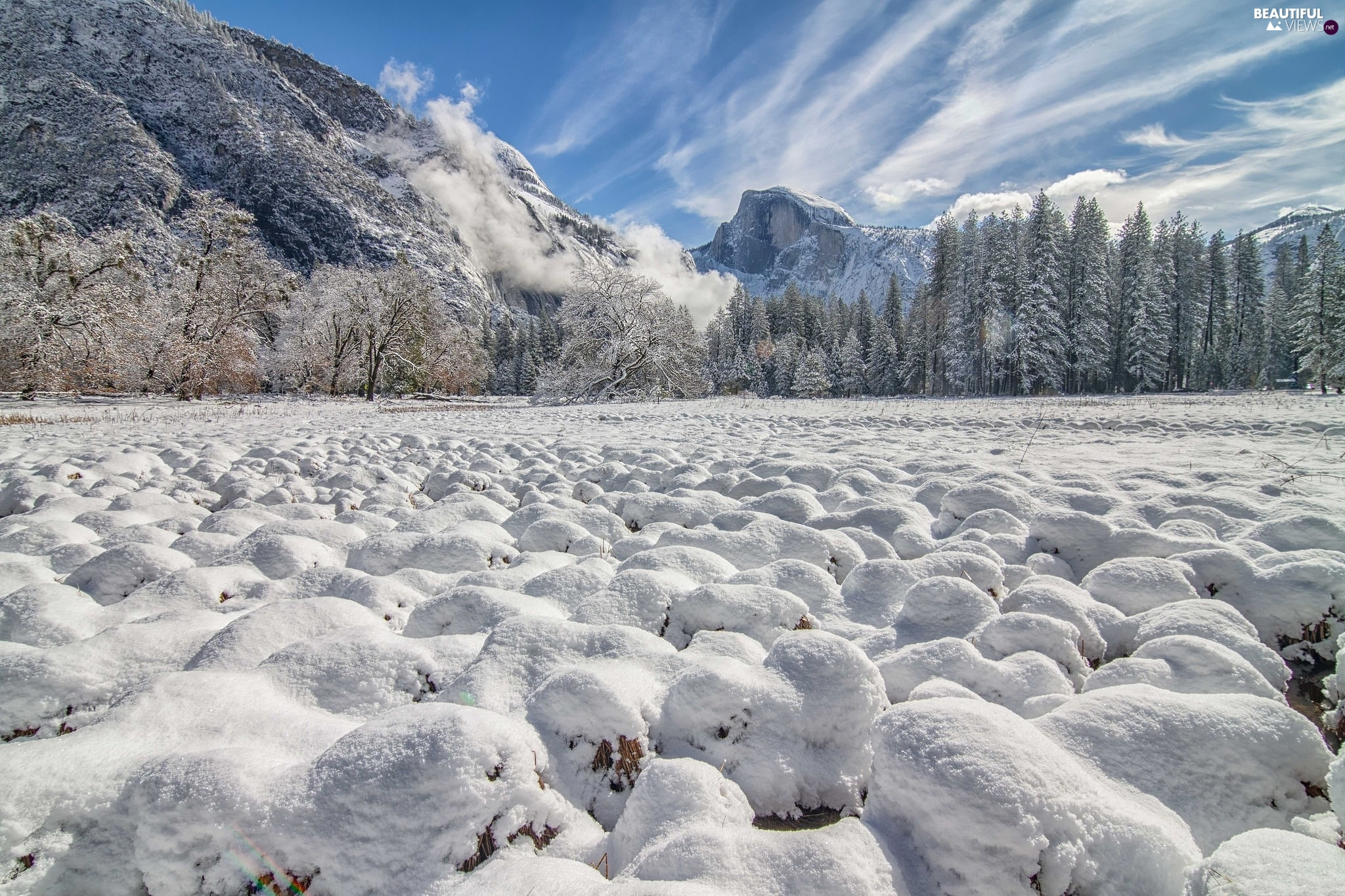 The United States, Mountains, Yosemite National Park, State of California, winter