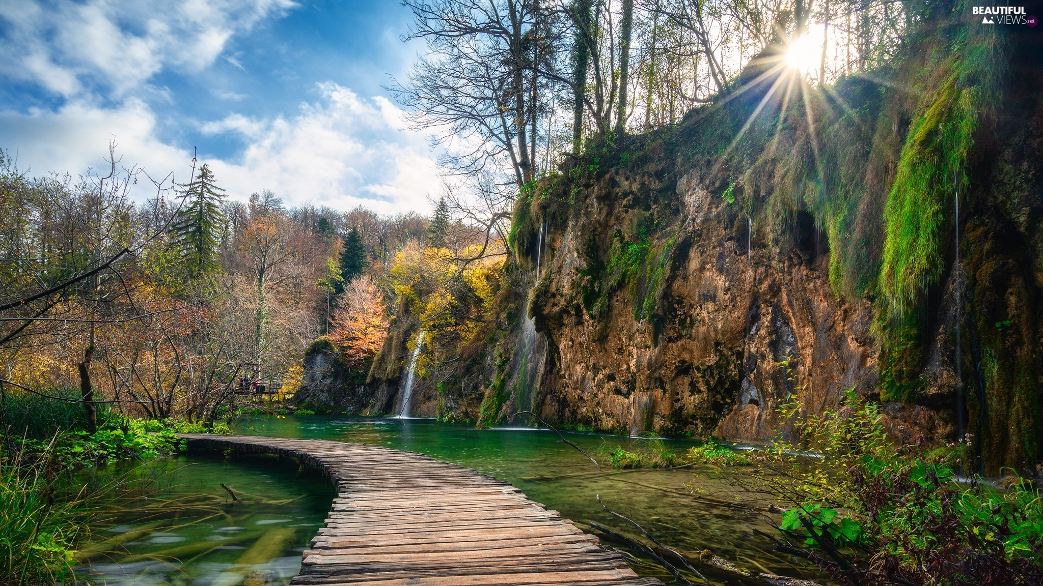 trees, waterfall, viewes, Platform, Plitvice Lakes National Park, Coartia, rays of the Sun, clouds, lake