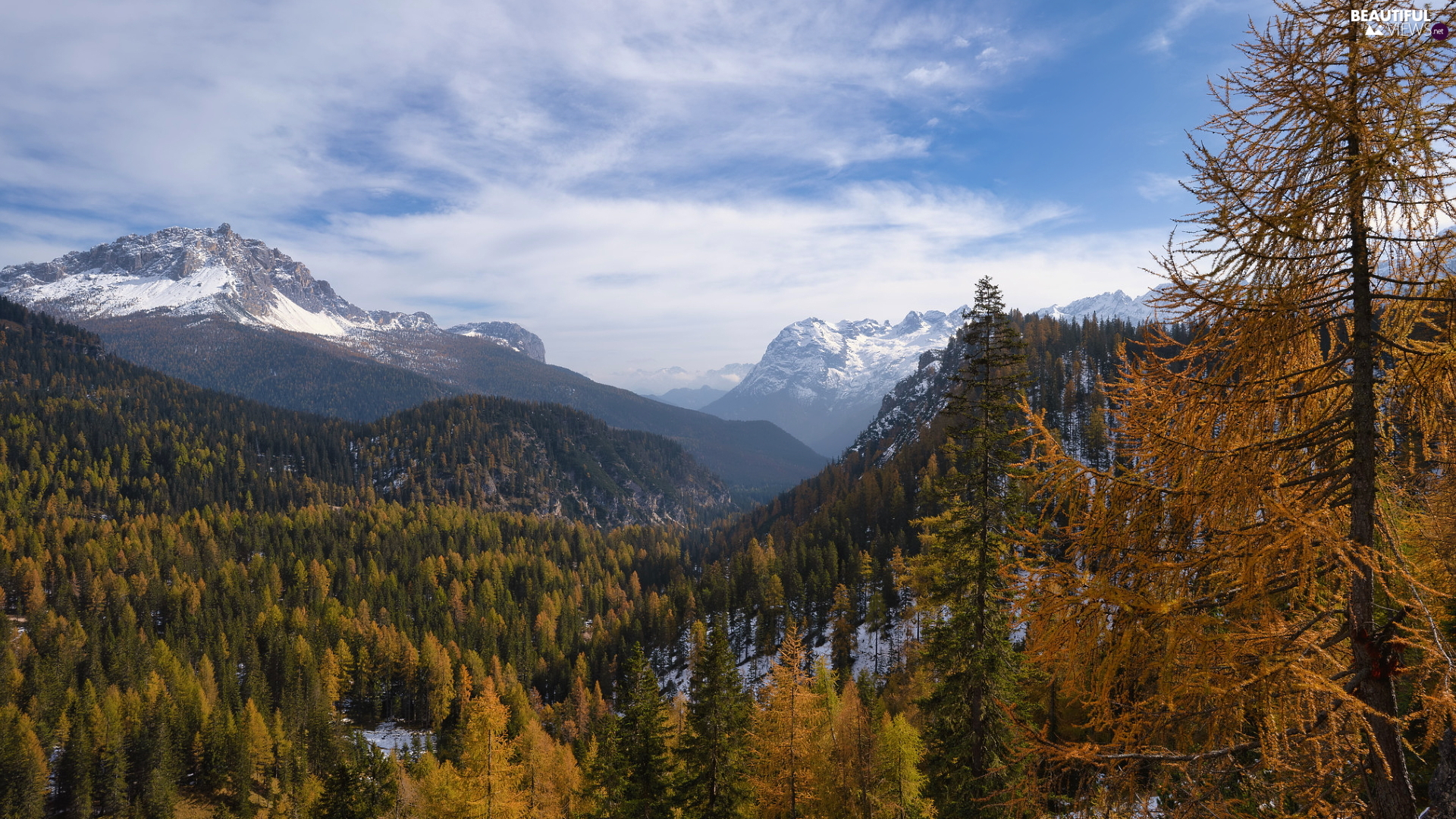 Dolomites, Snowy, woods, Valley, viewes, Italy, South Tyrol, Mountains, peaks, autumn, trees