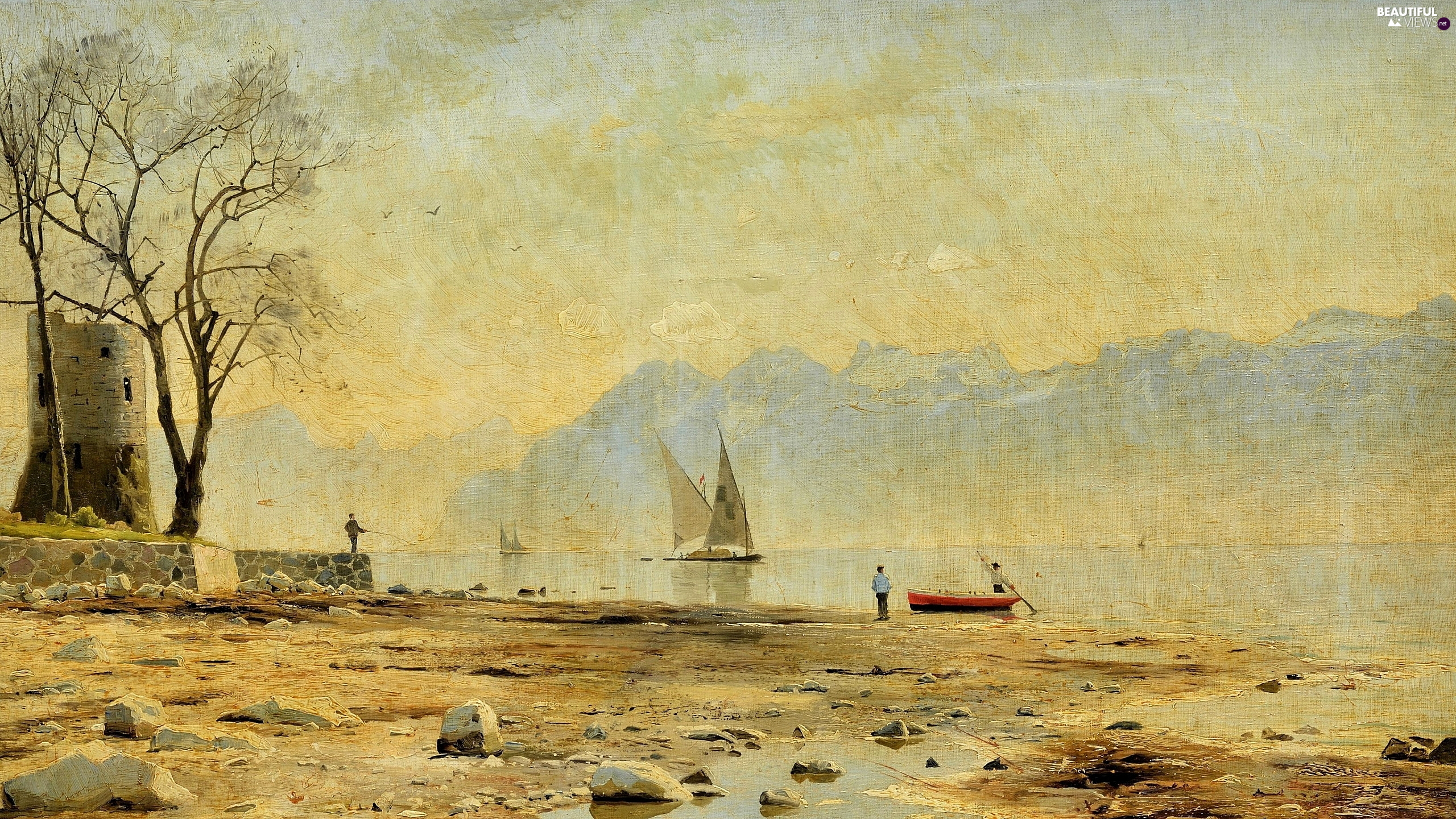 picture, painting, Peder Monsted, angler, coast, Stones, Mountains, lake, Sailboats
