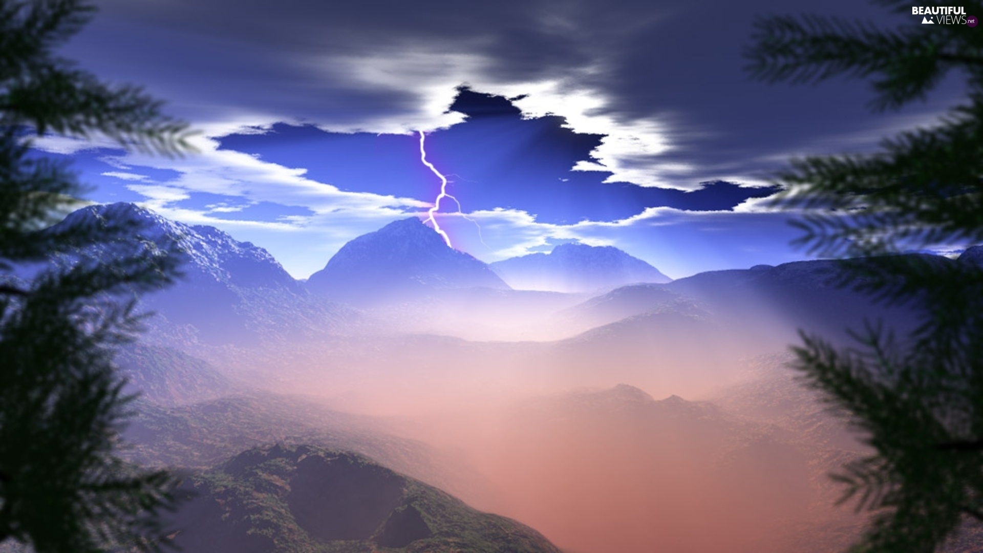 rays, sun, Sky, Mountains, Storm