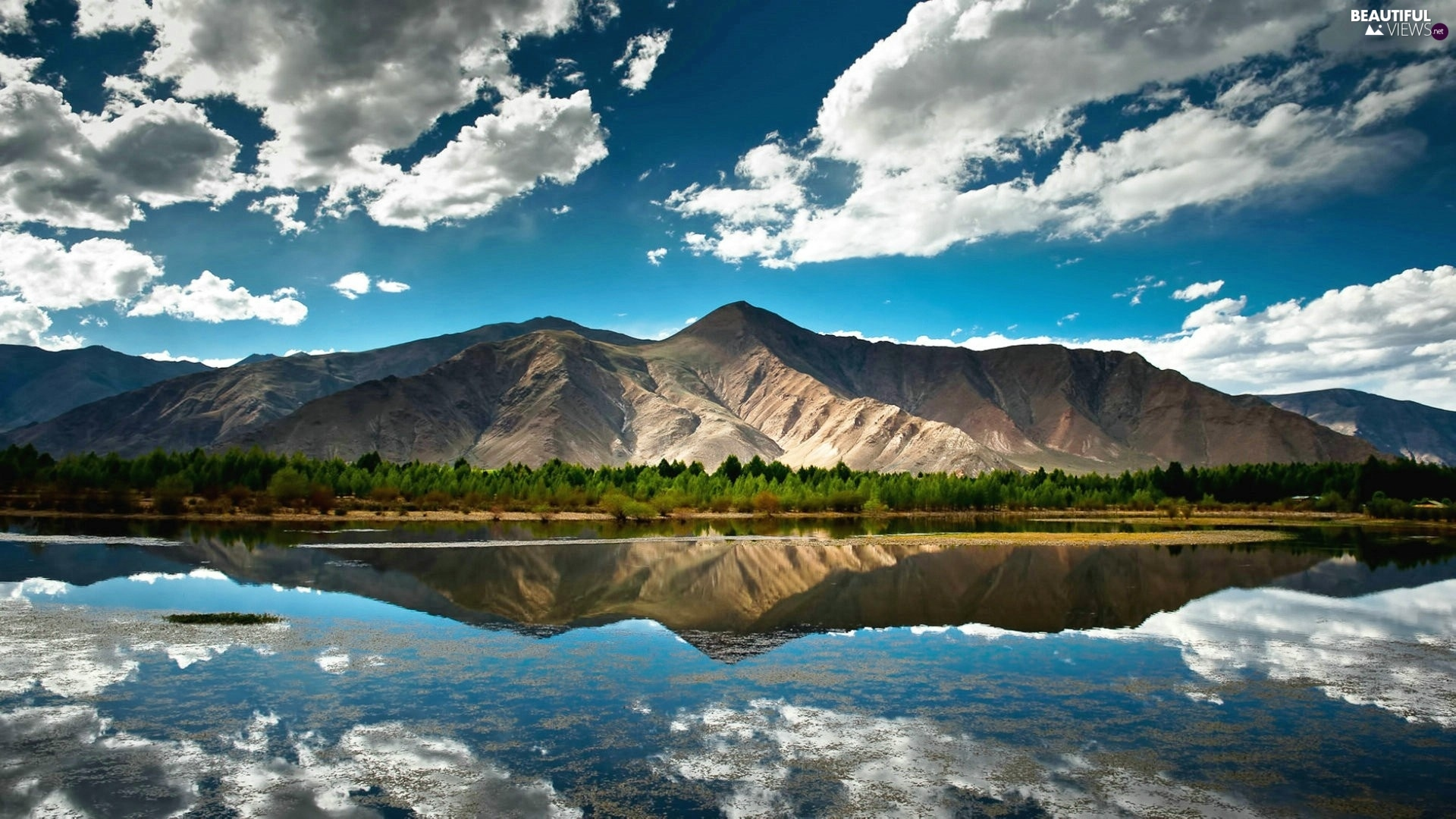 River, clouds, reflection, Mountains