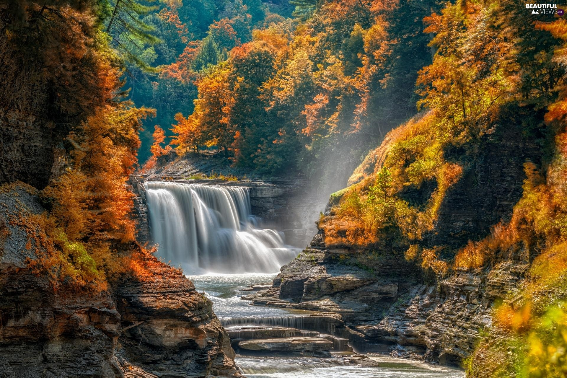 viewes, autumn, Fog, waterfall, rocks, trees, forest, River