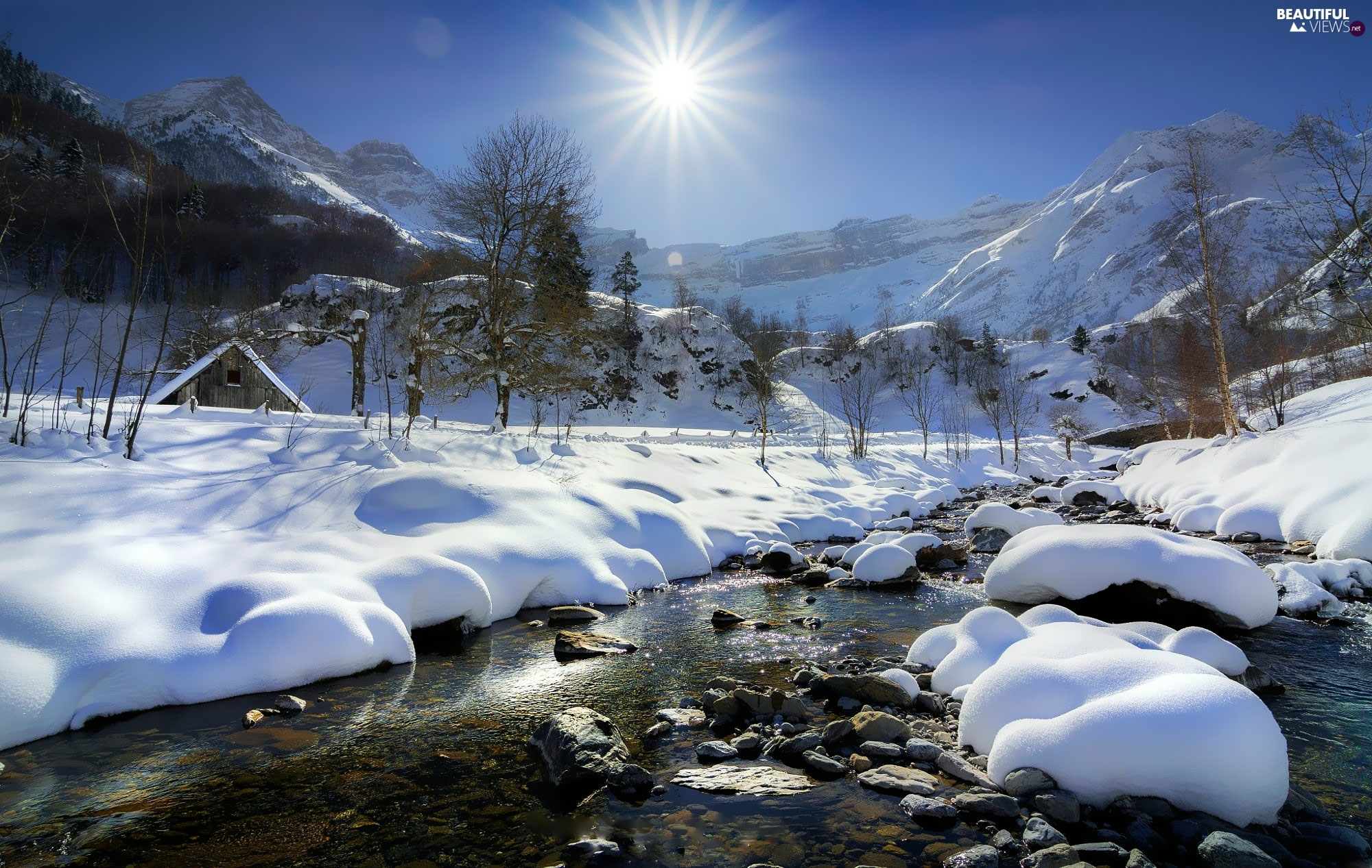 Mountains, winter, trees, viewes, rays of the Sun, River