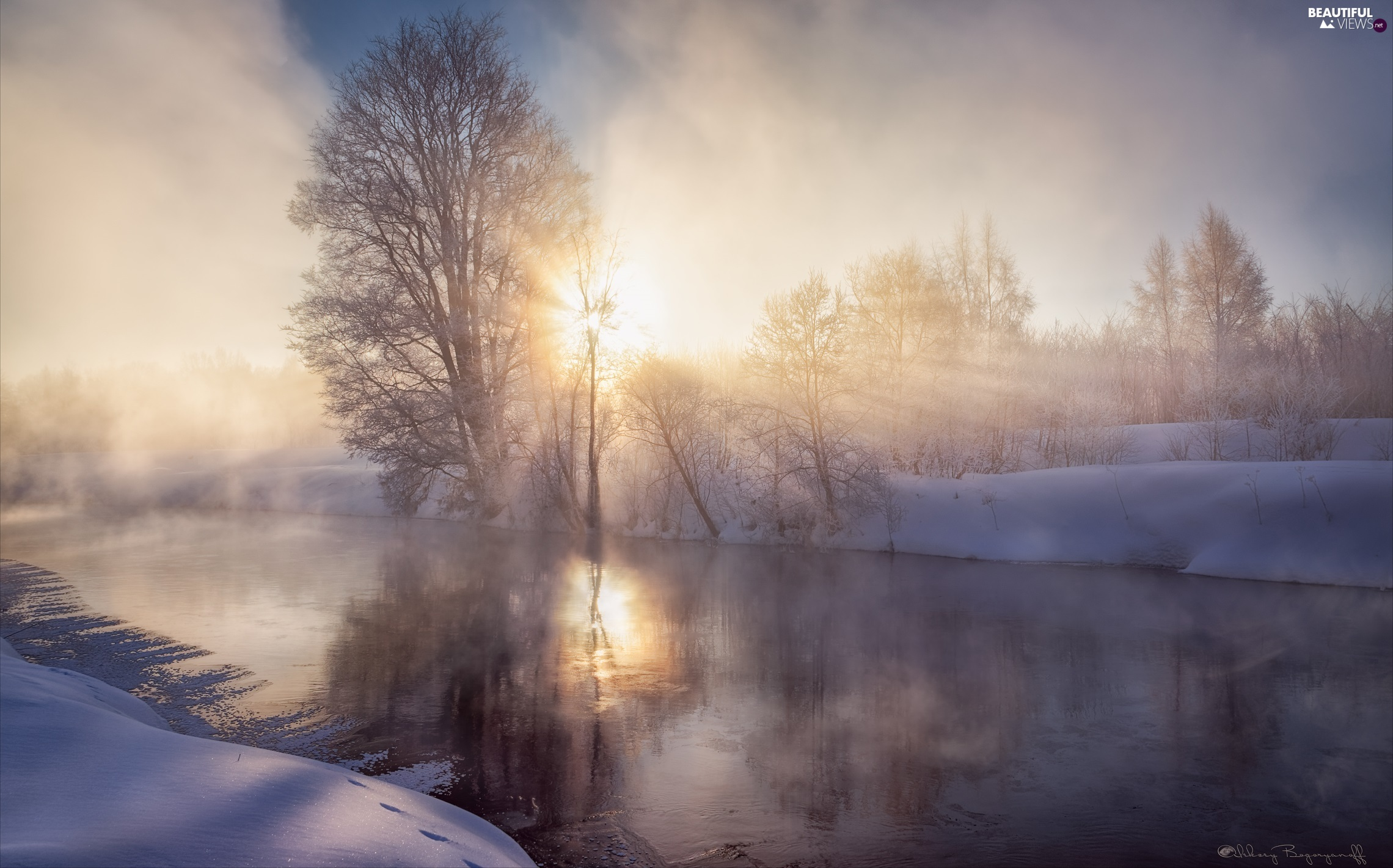 River, winter, viewes, rays of the Sun, trees, Fog
